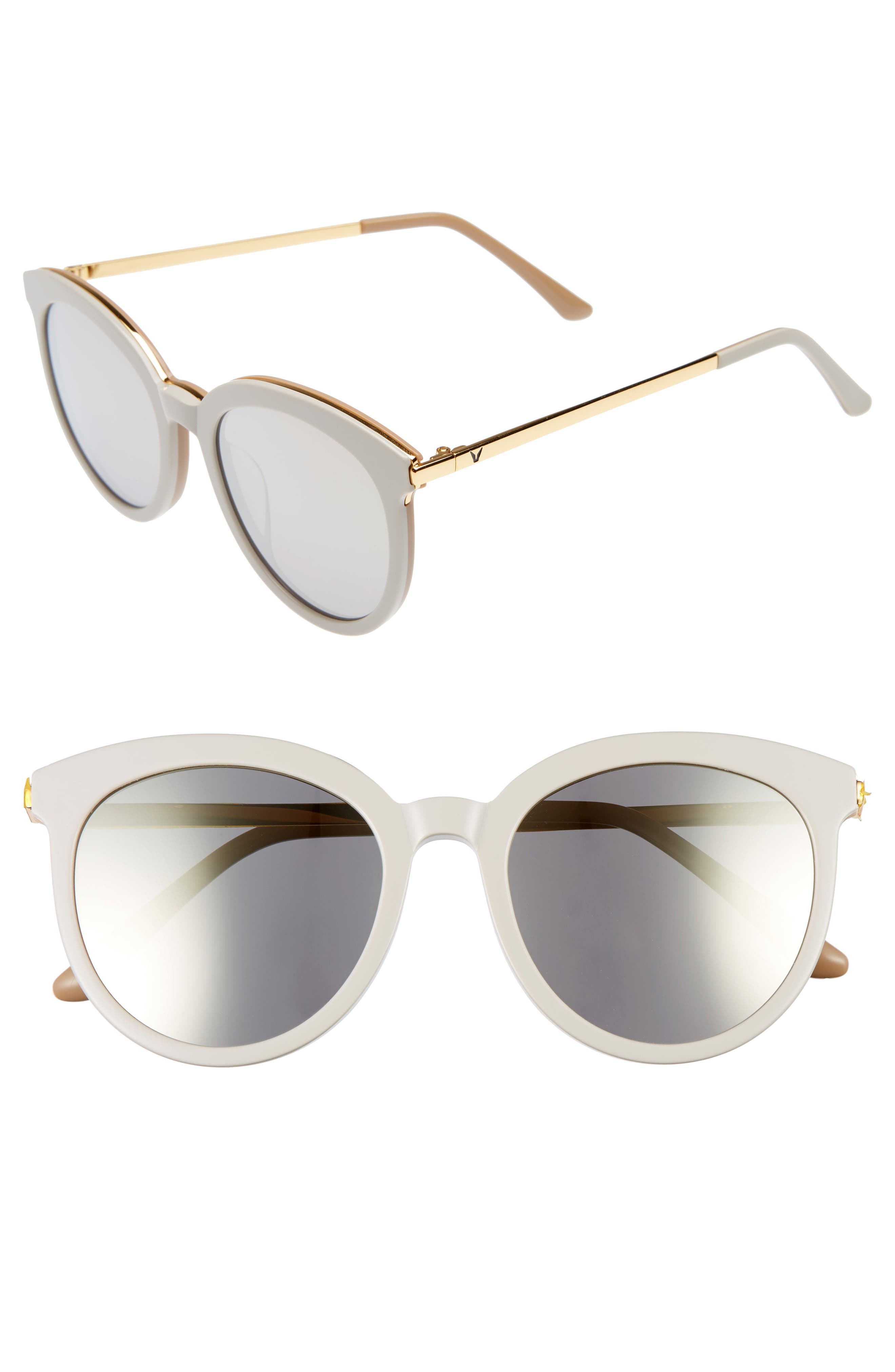 Vanilla Road 54mm Rounded Sunglasses,                         Main,                         color, Grey/ Gold