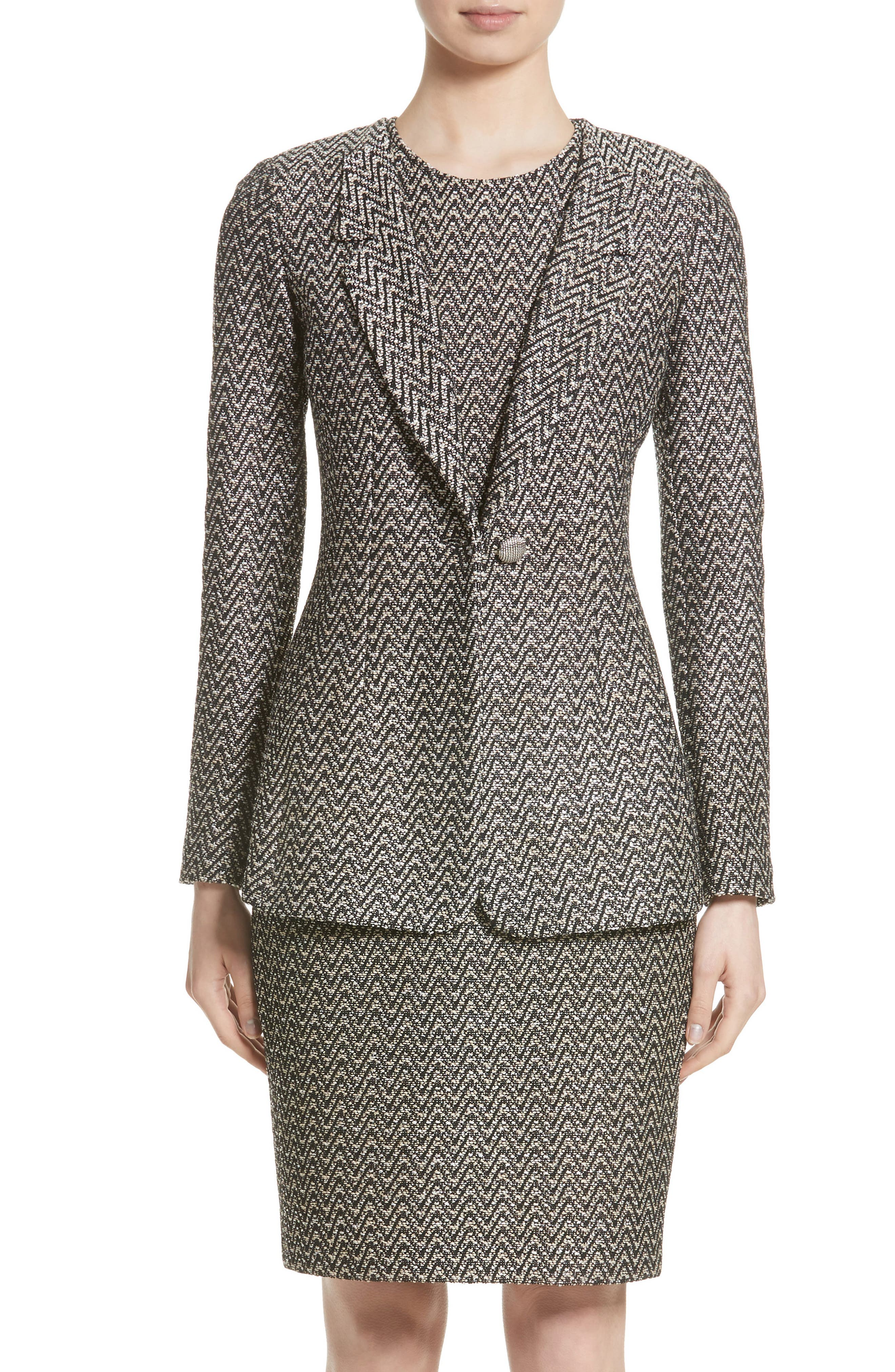 St. John Collection Aluna Speckled Chevron Tweed Knit Jacket (Nordstrom Exclusive)