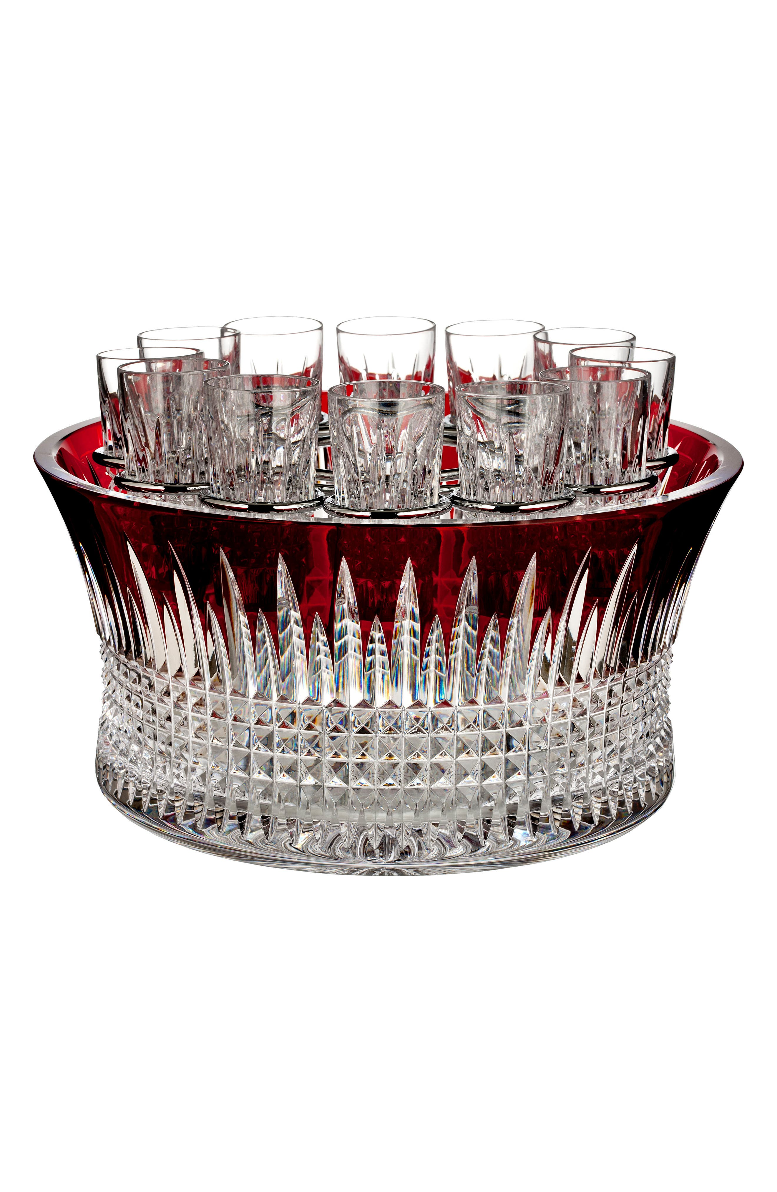 Waterford Lismore Diamond Red Vodka Chiller & Shot Glass Set