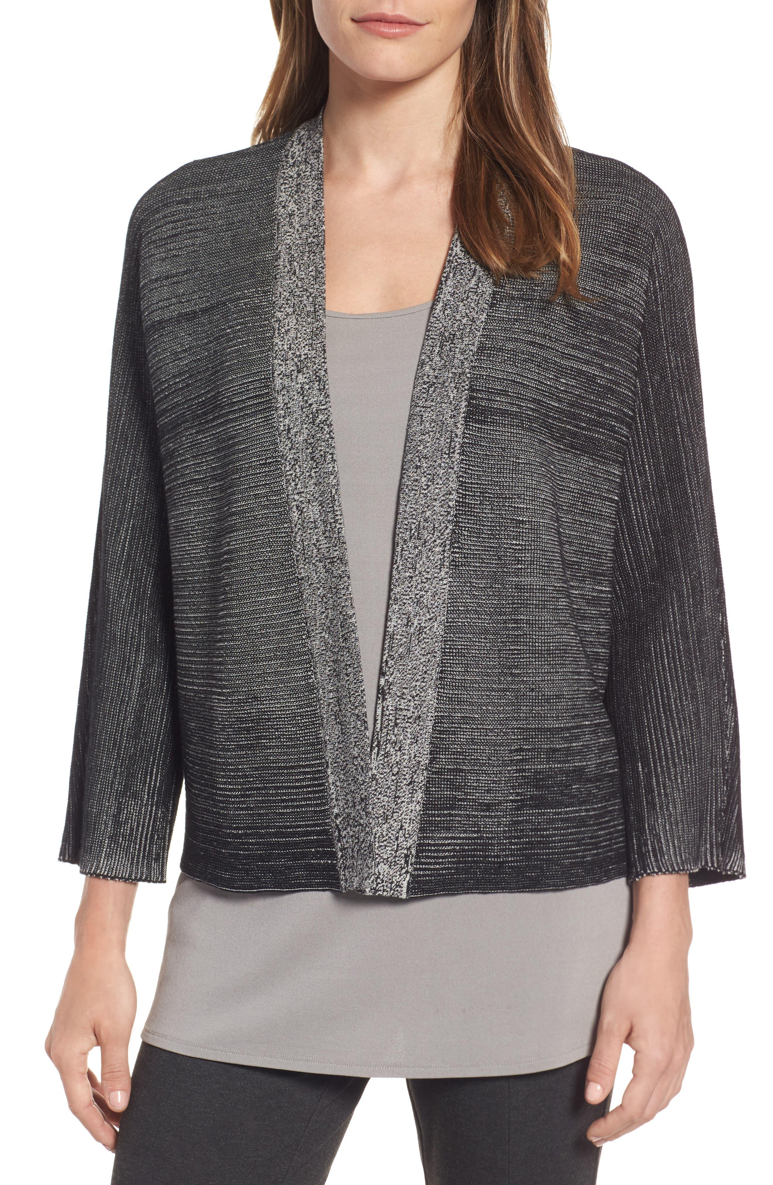 Eileen Fisher Textured Silk & Organic Cotton Cardigan (Regular & Petite)