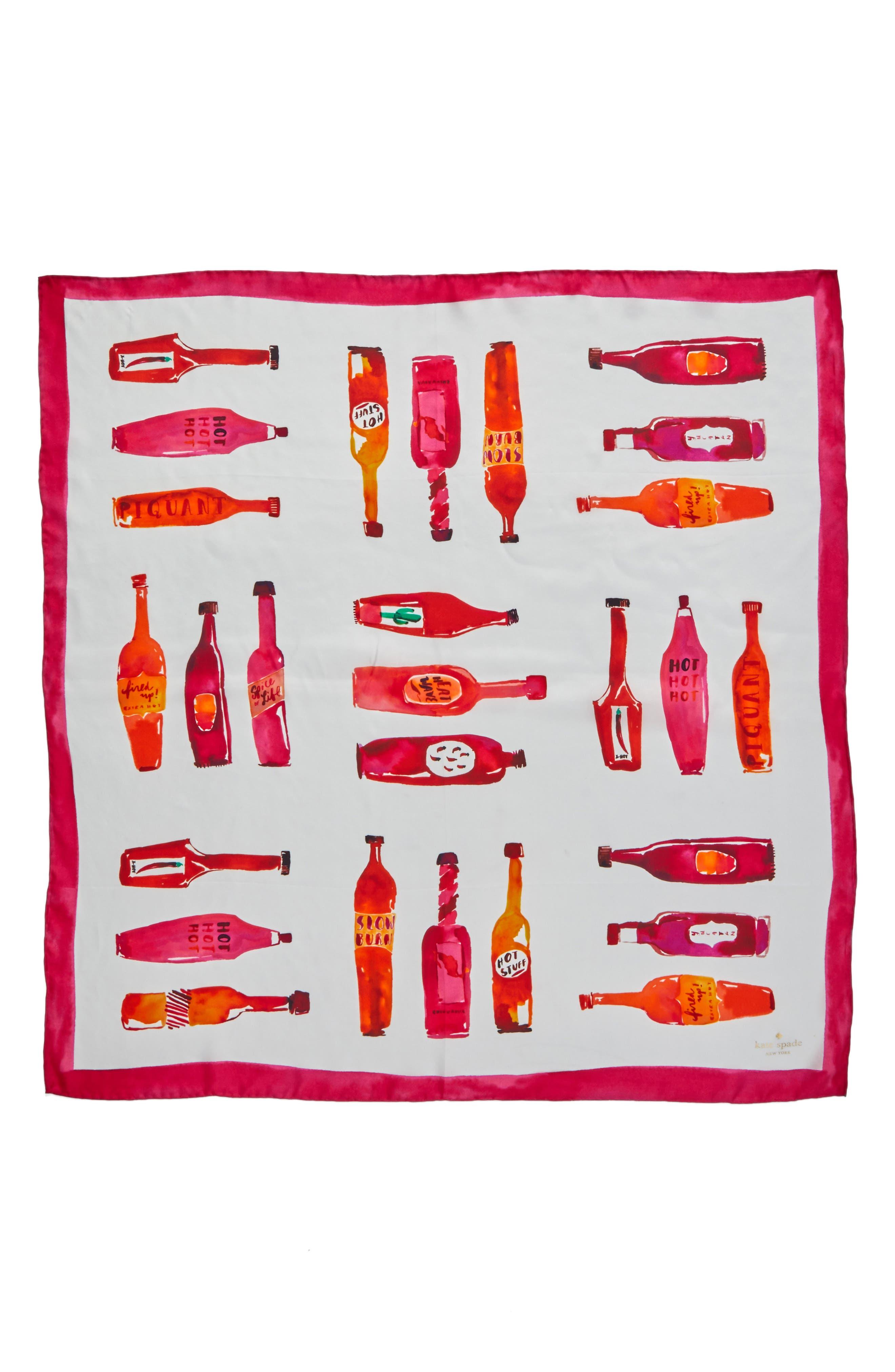 hot sauce square silk scarf,                             Alternate thumbnail 2, color,                             Cream