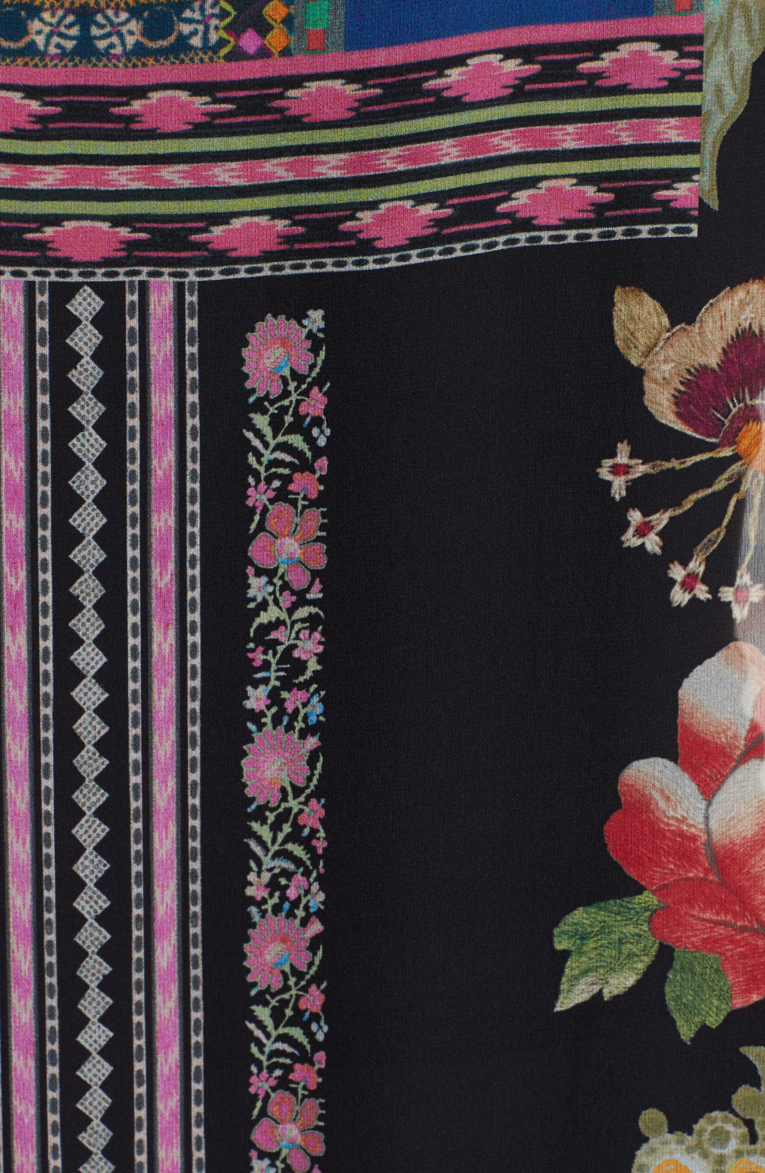 Fringe Trim Floral Print Silk Poncho,                             Alternate thumbnail 3, color,                             Pink