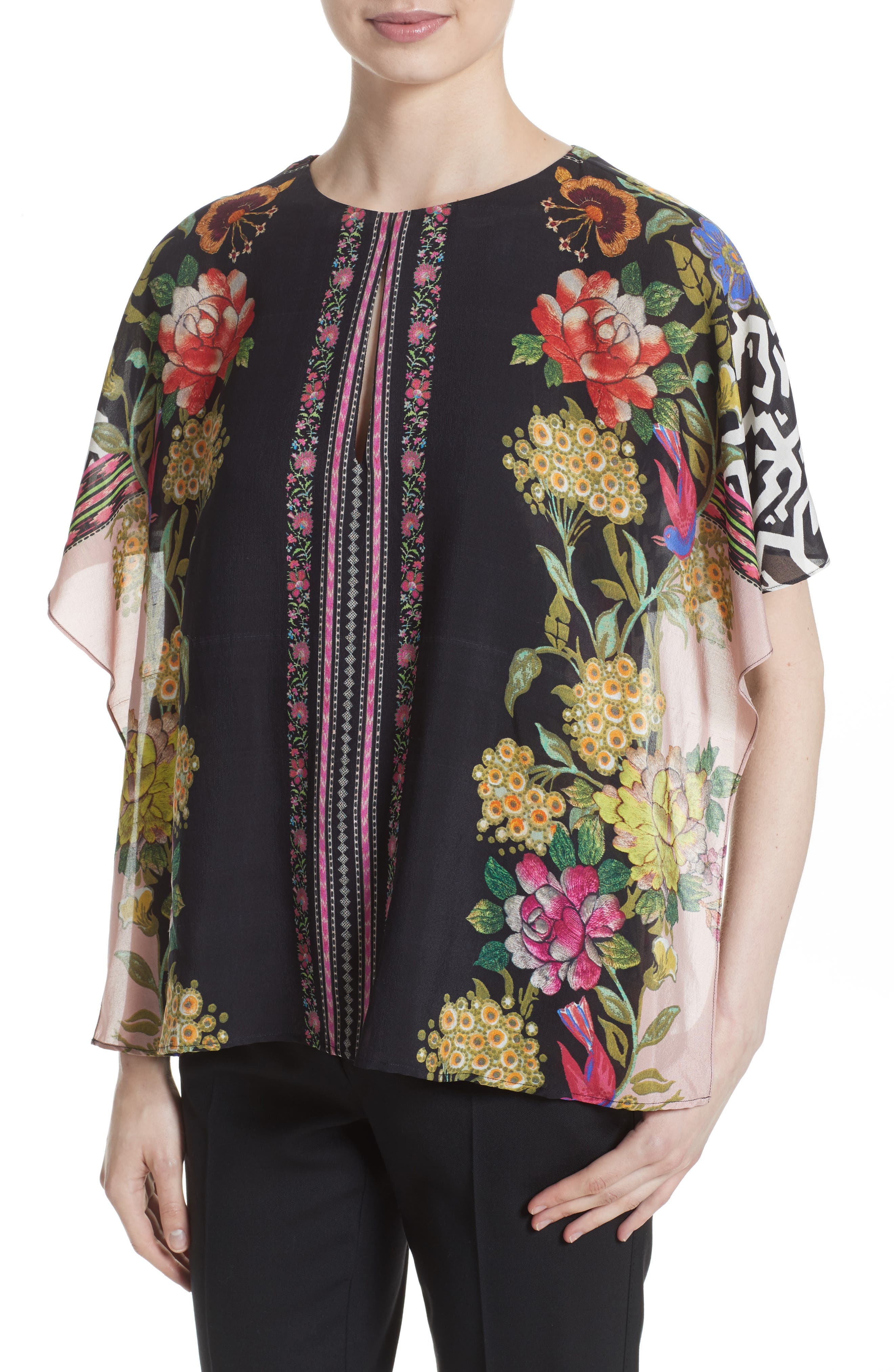 Floral & Maze Print Silk Blouse,                             Main thumbnail 1, color,                             Pink