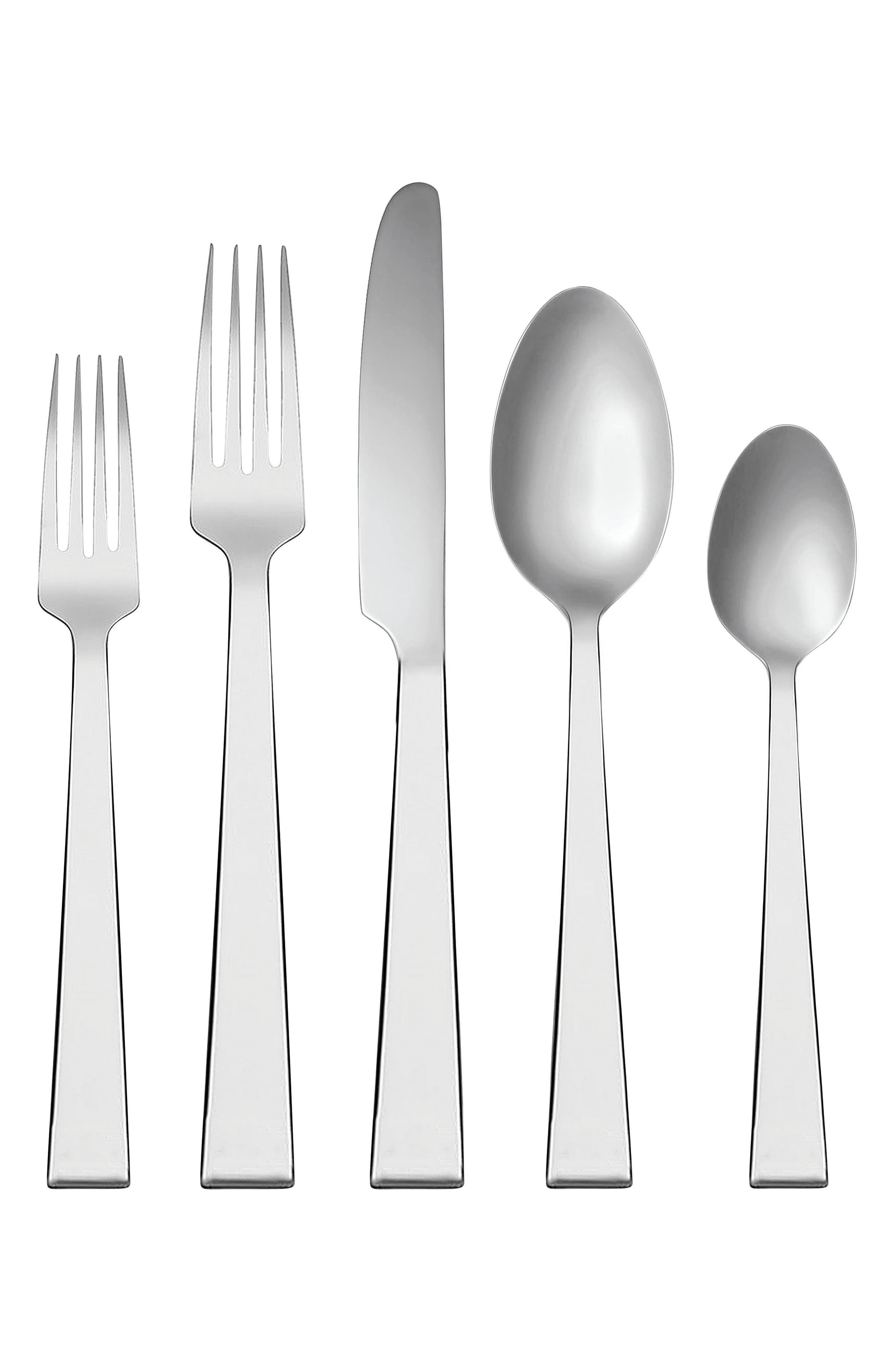 x Wedgwood Bande 5-Piece Place Setting,                             Main thumbnail 1, color,                             Metallic Silver