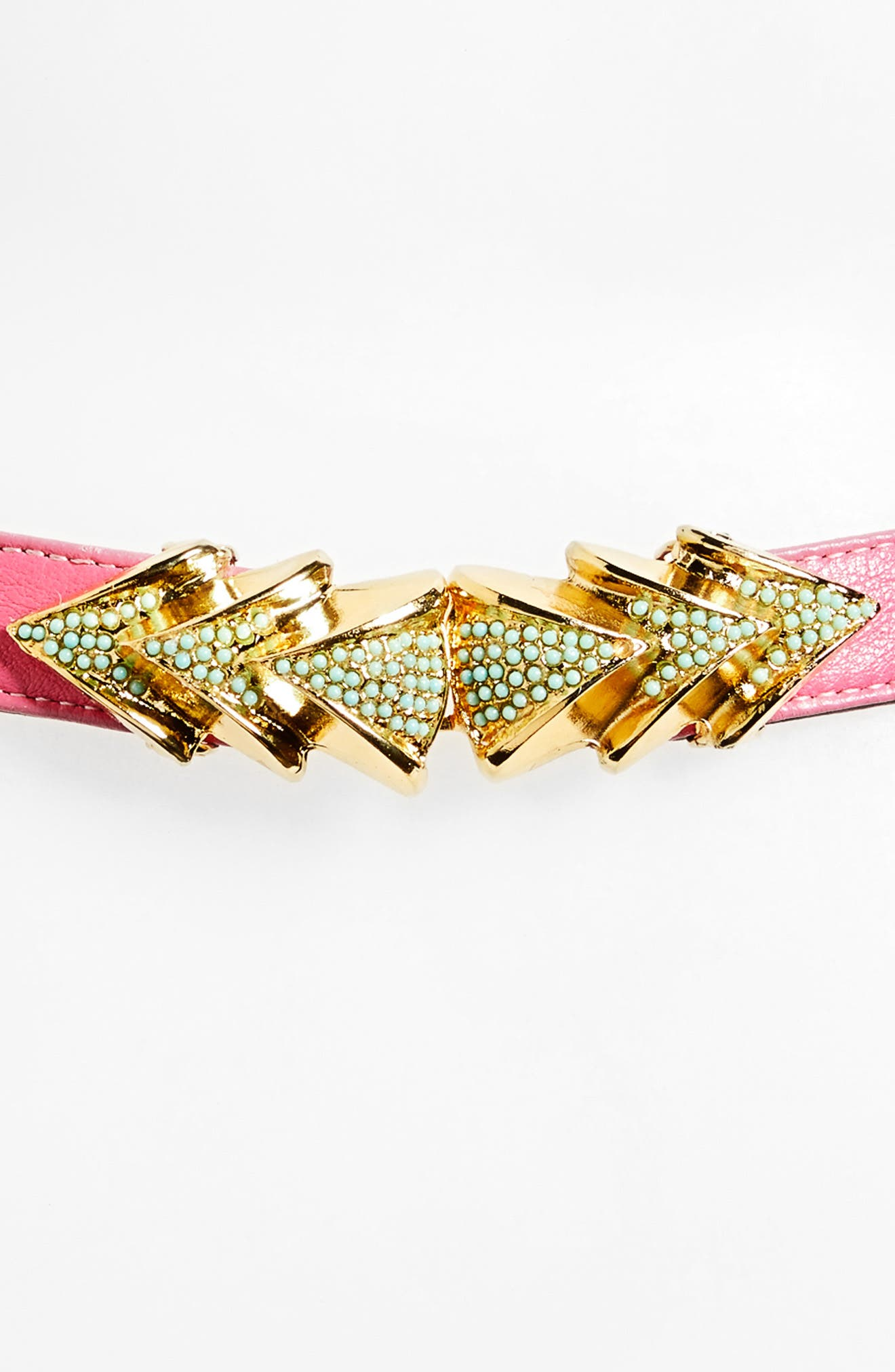Venice Leather Belt,                             Alternate thumbnail 3, color,                             Pink