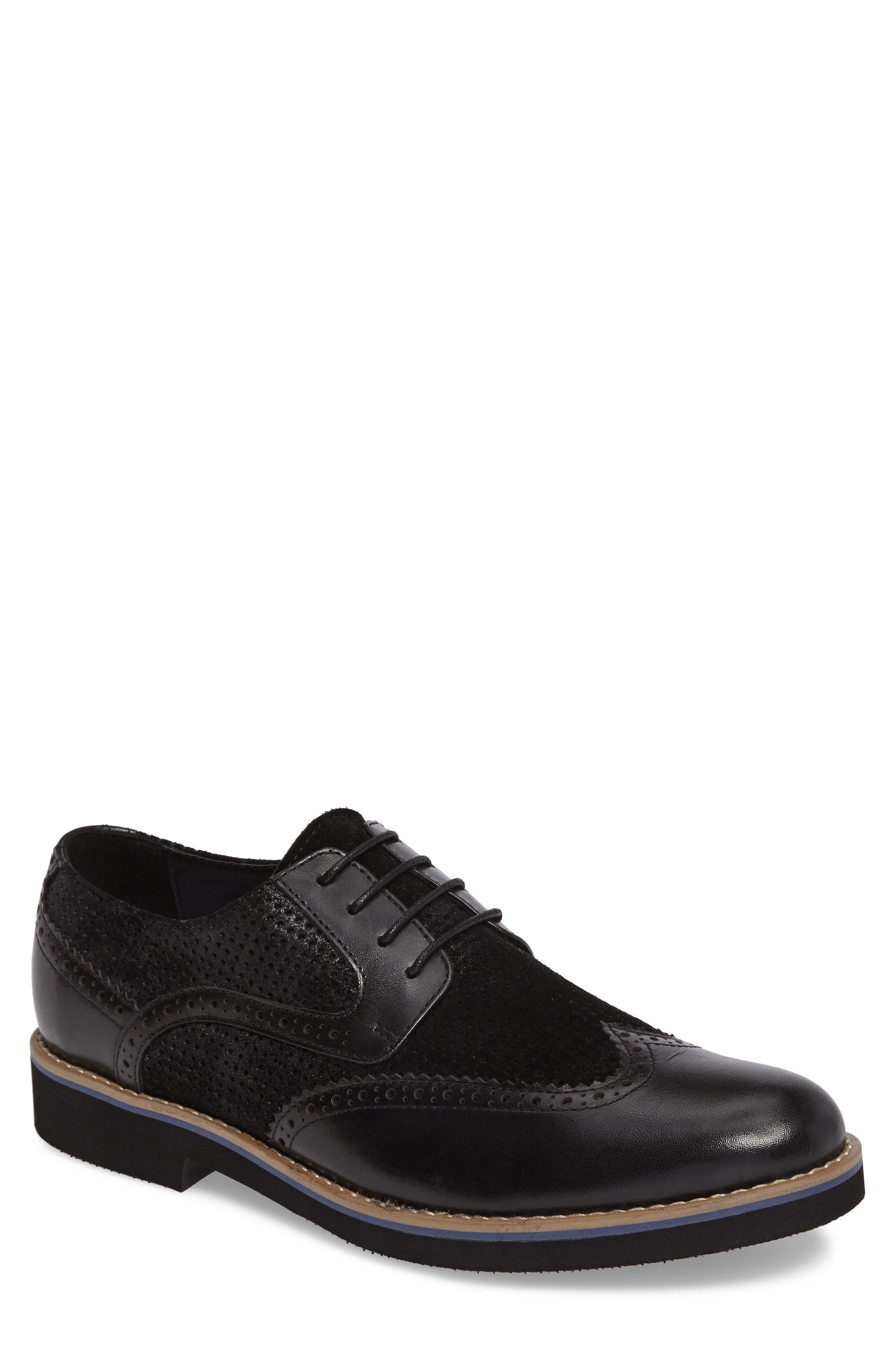 Maritime Spectator Shoe,                         Main,                         color, Black Leather