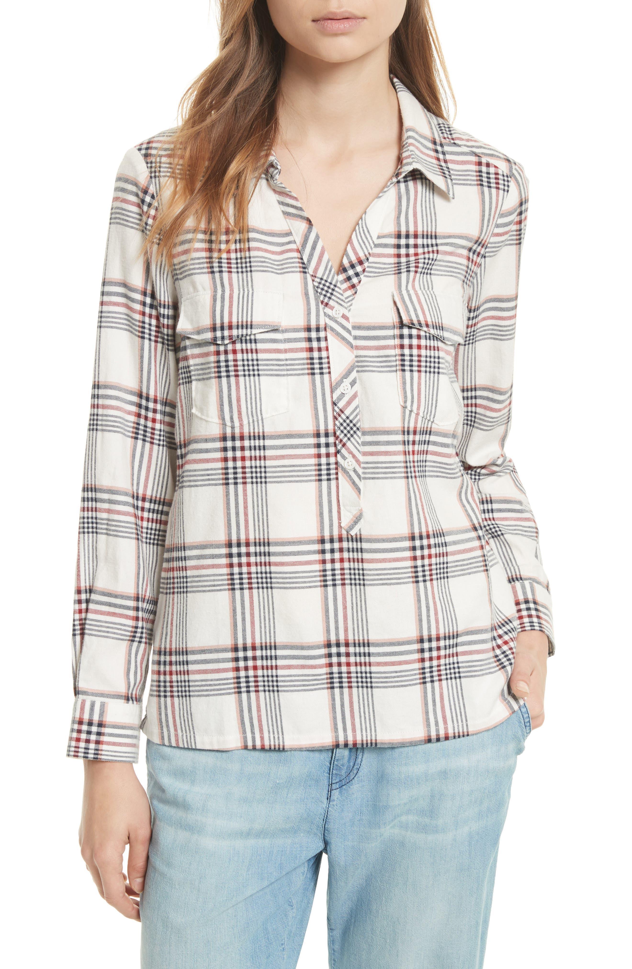 Soft Joie Antolina Plaid Cotton Top