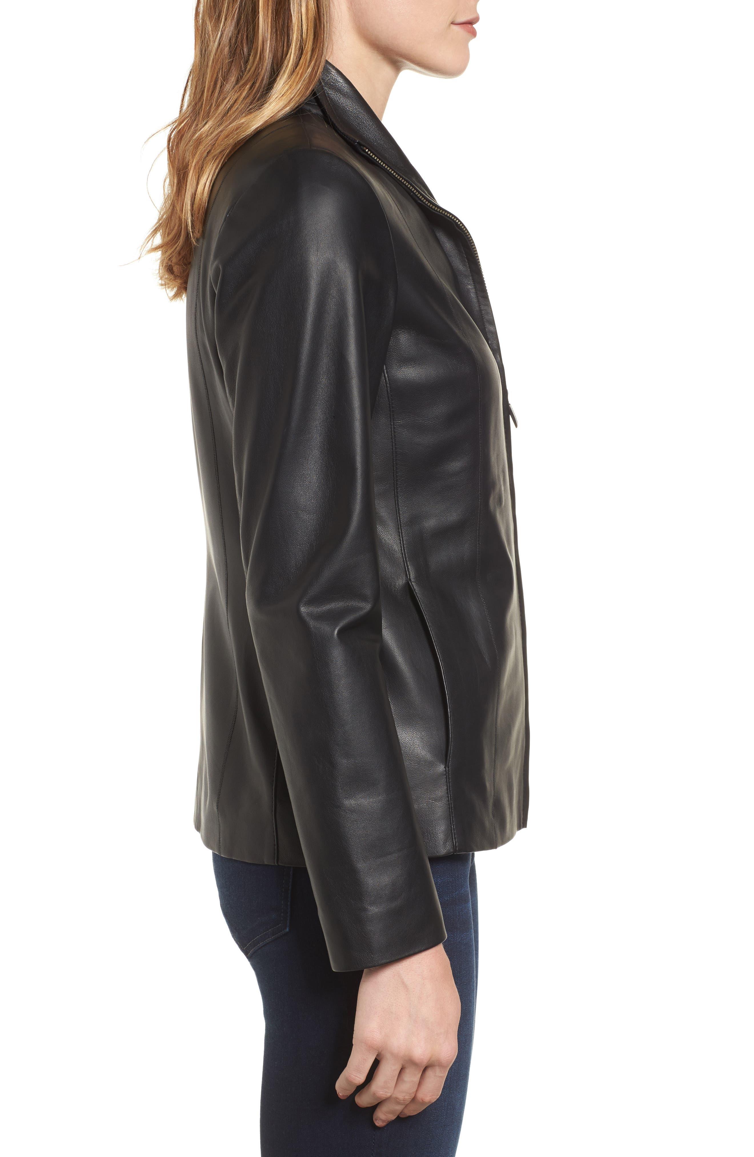 Lambskin Leather Scuba Jacket,                             Alternate thumbnail 3, color,                             Black