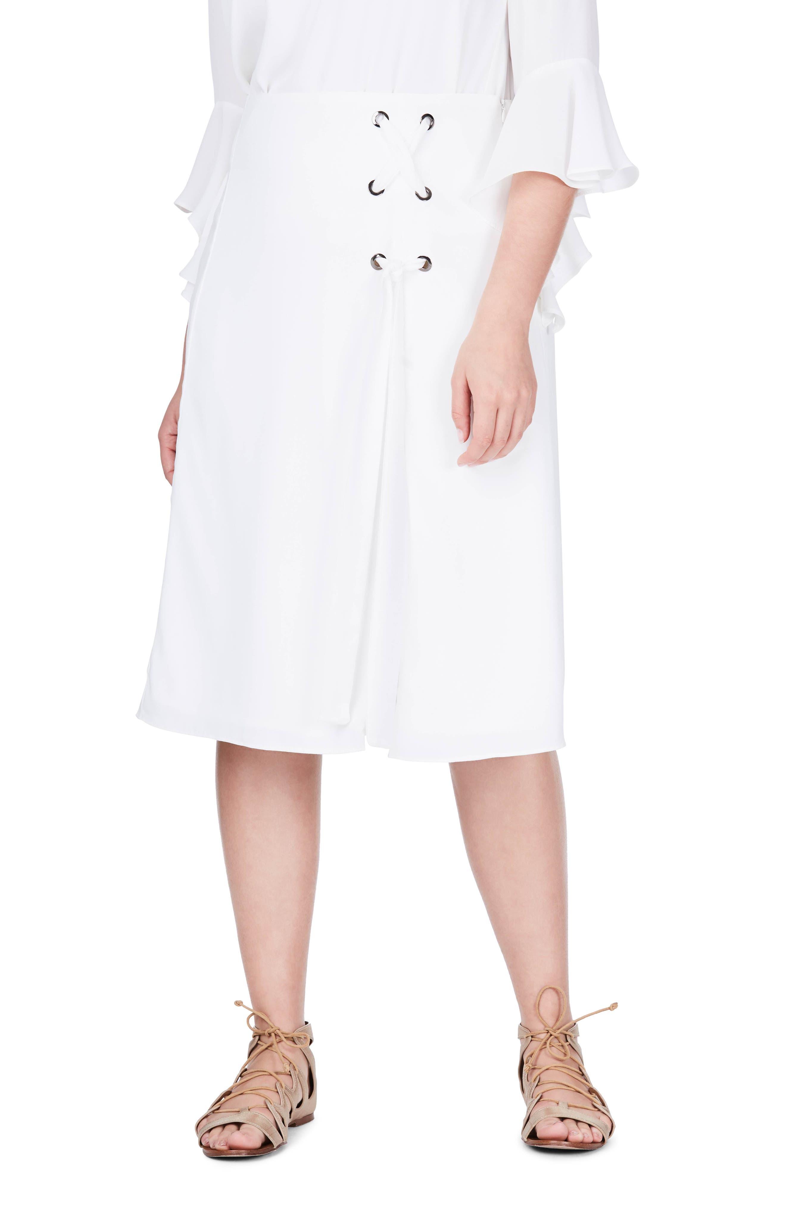 Main Image - ELVI Lace-Up Skirt (Plus Size)