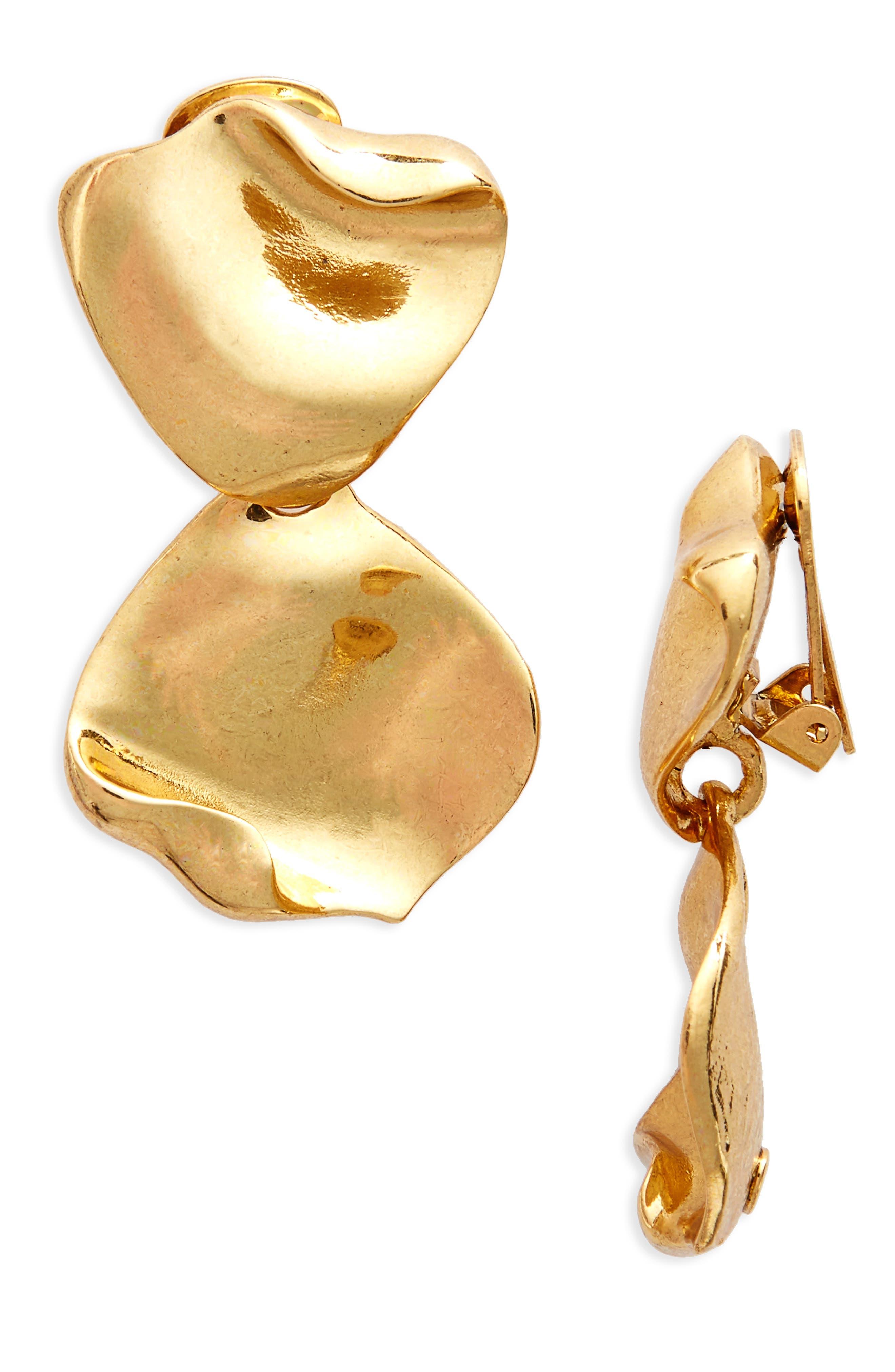 Oscar de la Renta Gold Leaf Clip Earrings