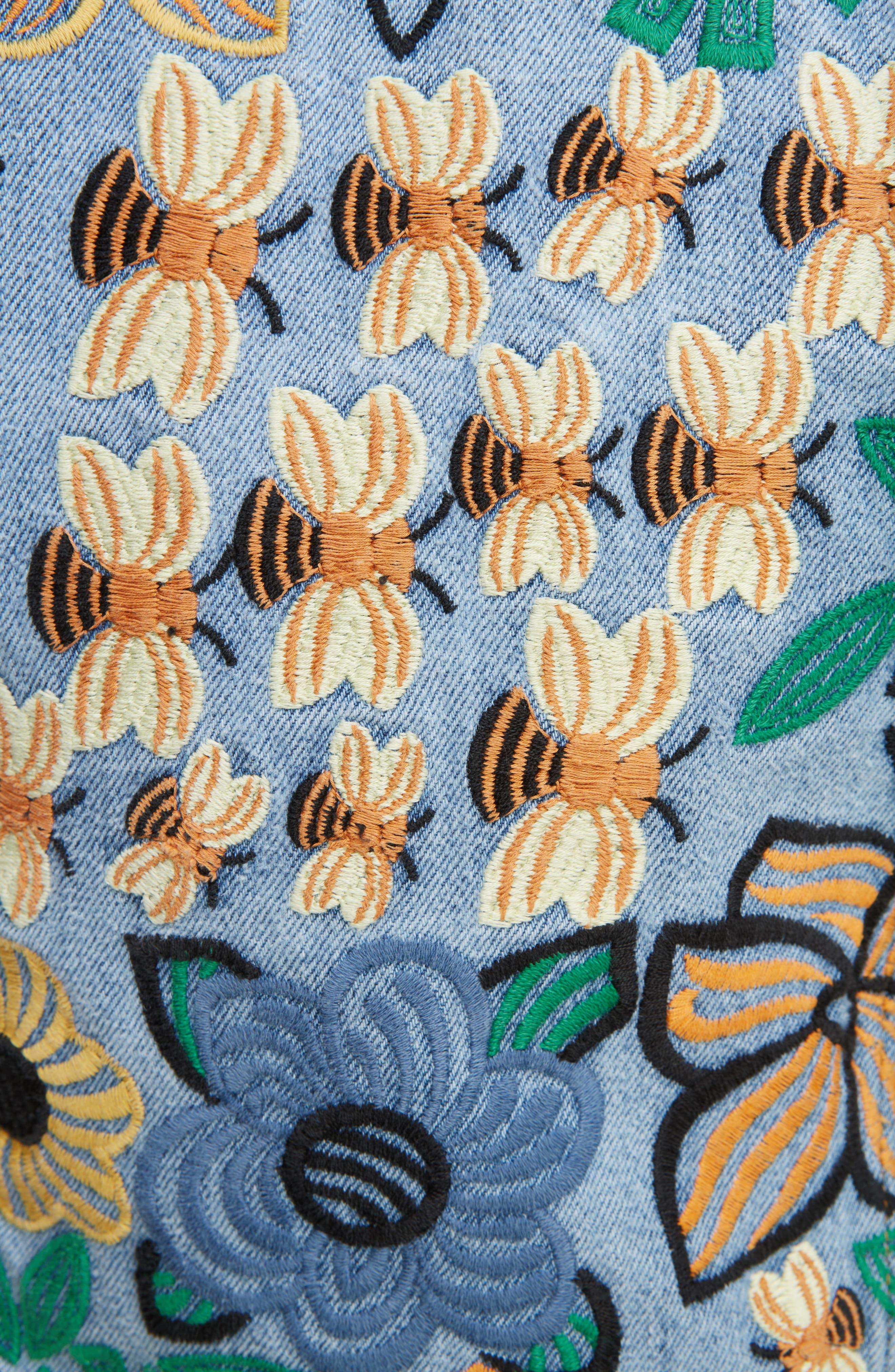 Alternate Image 5  - ACNE Studios Chea Floral Embroidered Crop Denim Jacket