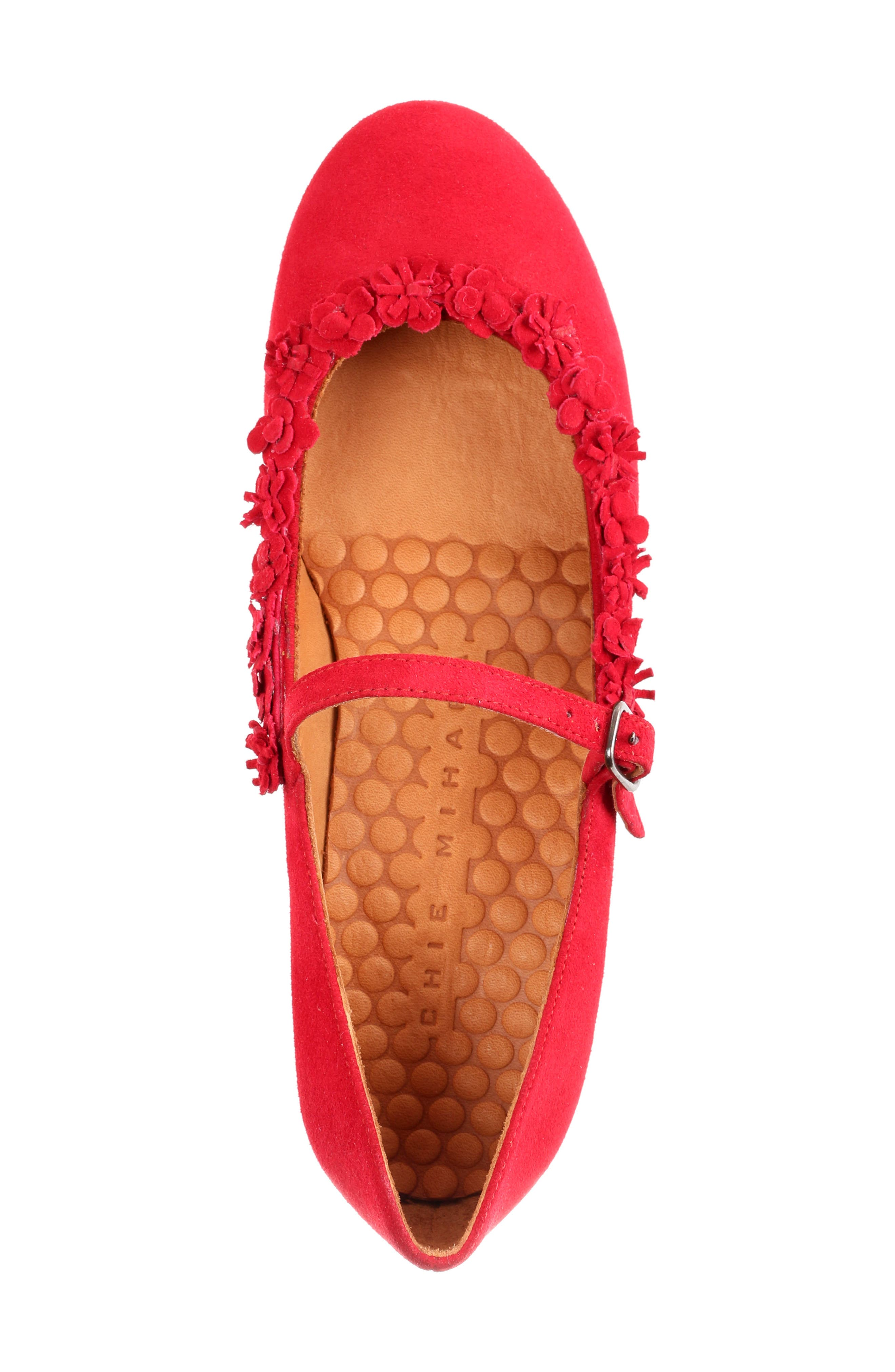 Rizo Mary Jane Flat,                             Alternate thumbnail 5, color,                             Red