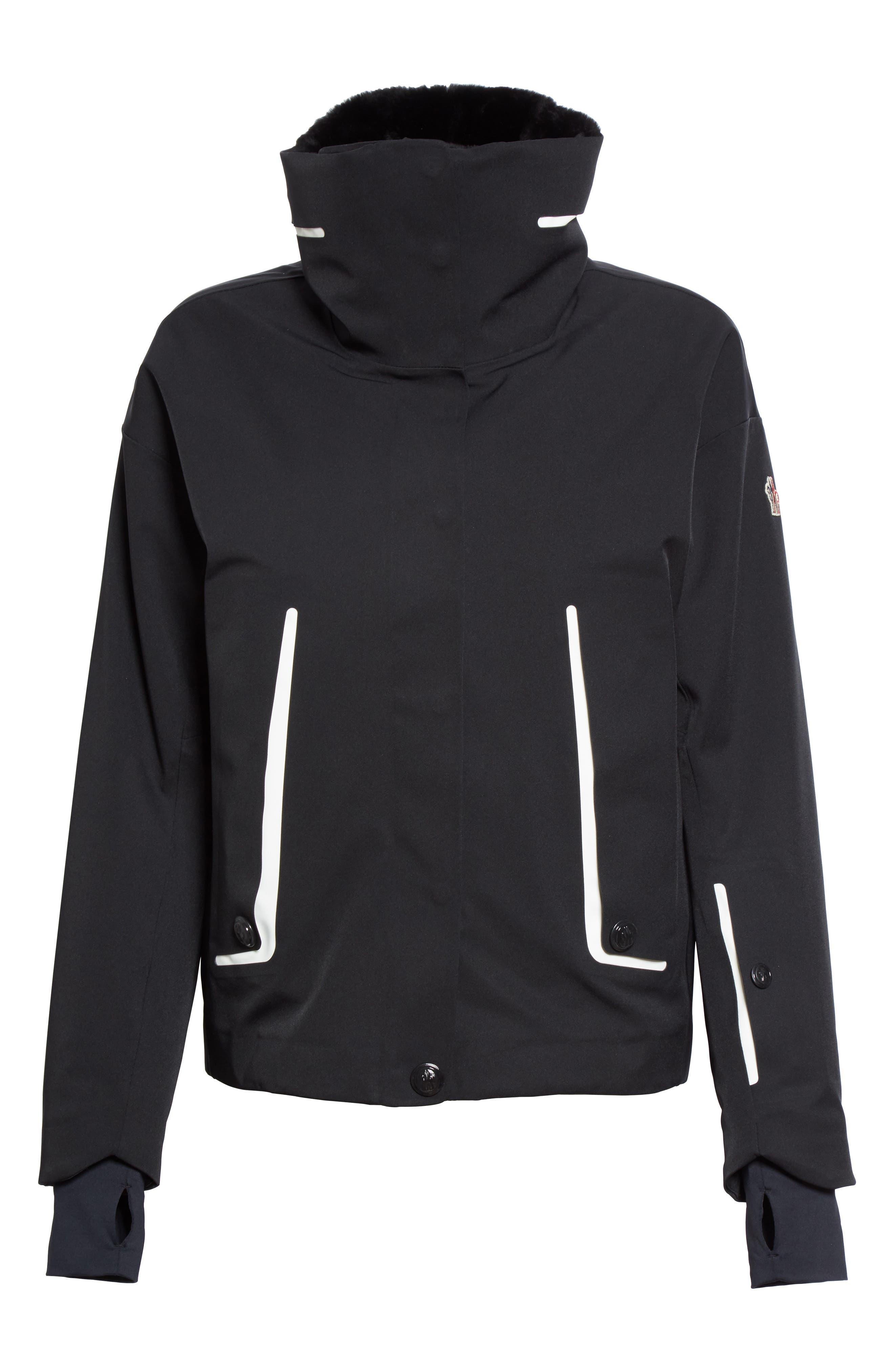Troisvallees Jacket with Genuine Nutria Fur Collar,                             Alternate thumbnail 6, color,                             Black/ White