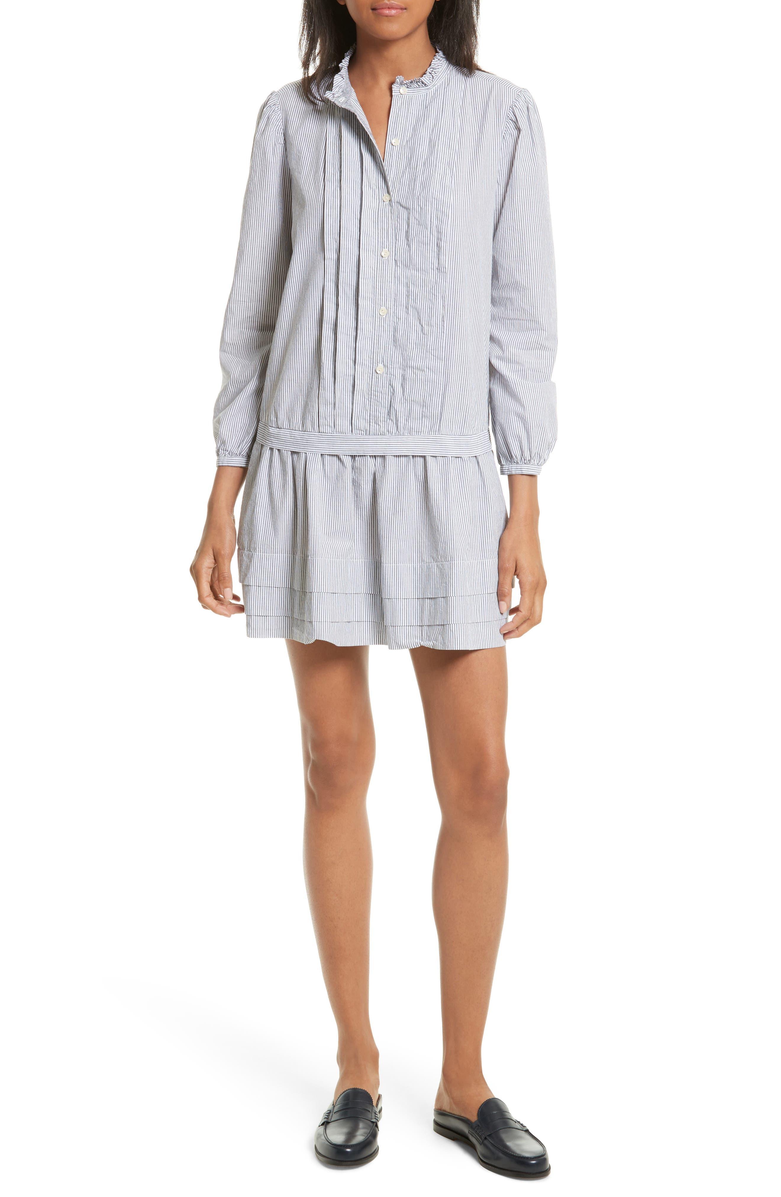 Cotton Shirtdress,                         Main,                         color, Black/ Milk