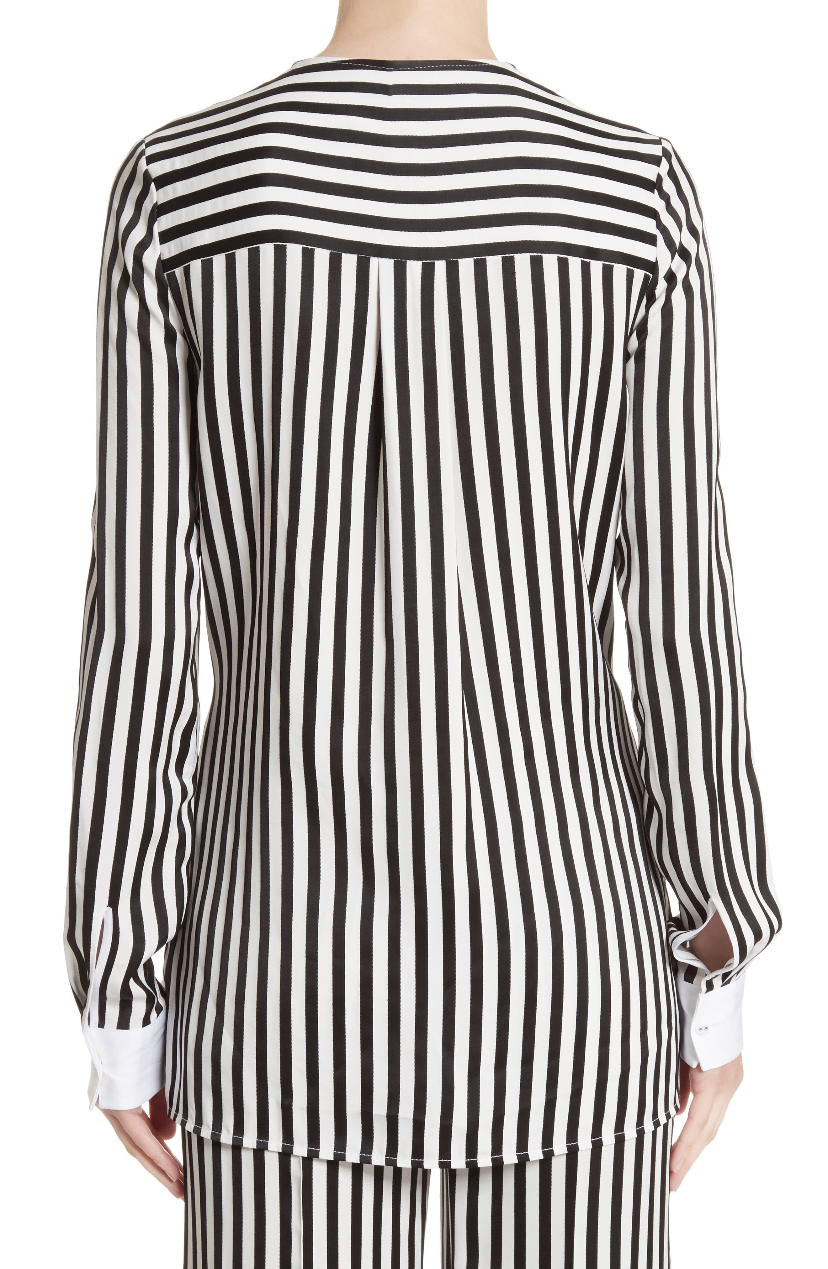Stripe Tie Waist Blouse,                             Alternate thumbnail 3, color,                             Black/ White