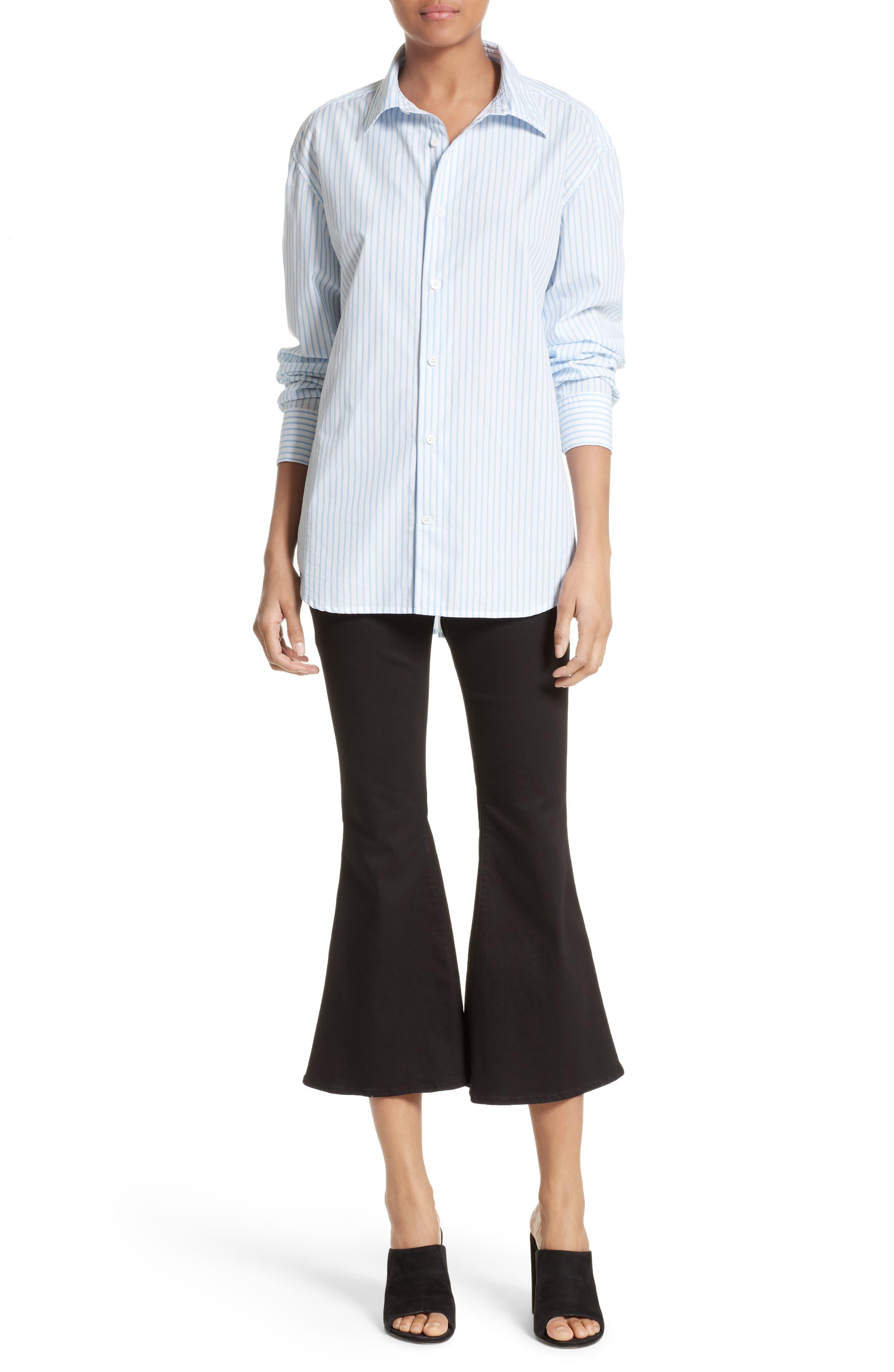 Stripe Poplin Shirt,                             Alternate thumbnail 2, color,                             Capri Blue Multi