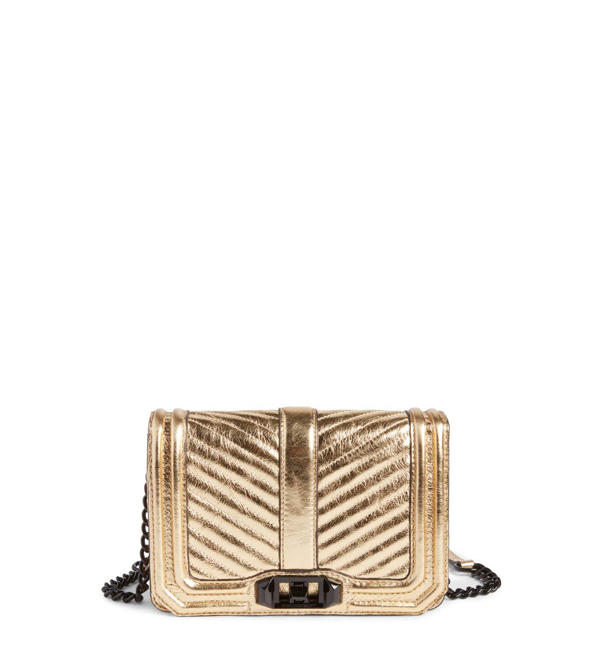 Small Love Metallic Leather Crossbody Bag