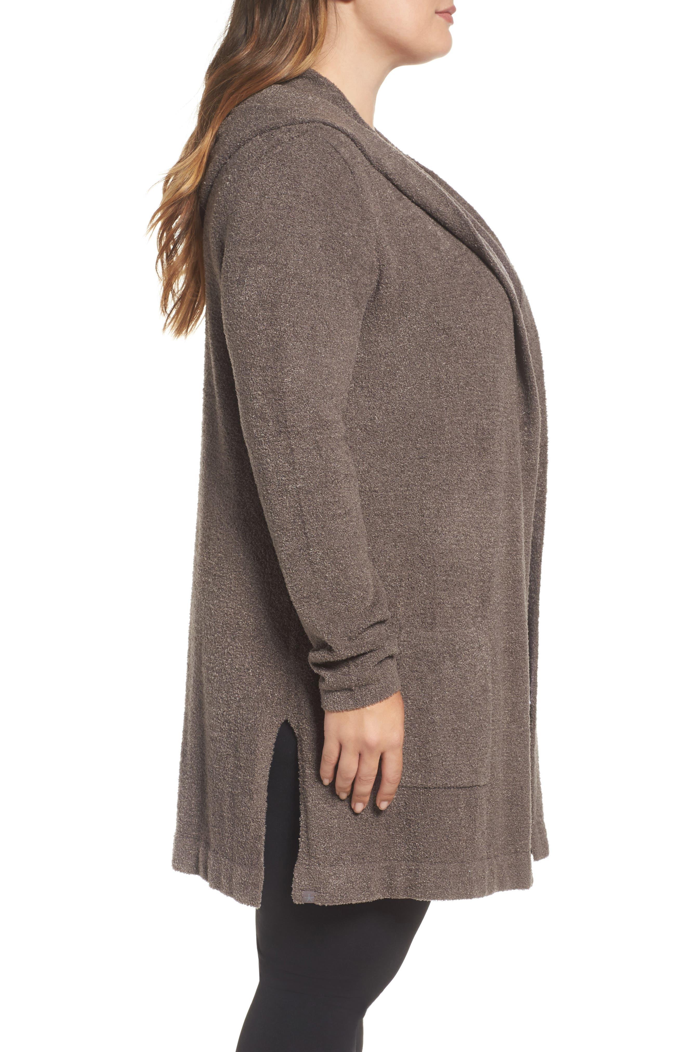 Alternate Image 3  - Barefoot Dreams® Cozychic Lite® Coastal Hooded Cardigan (Plus Size)