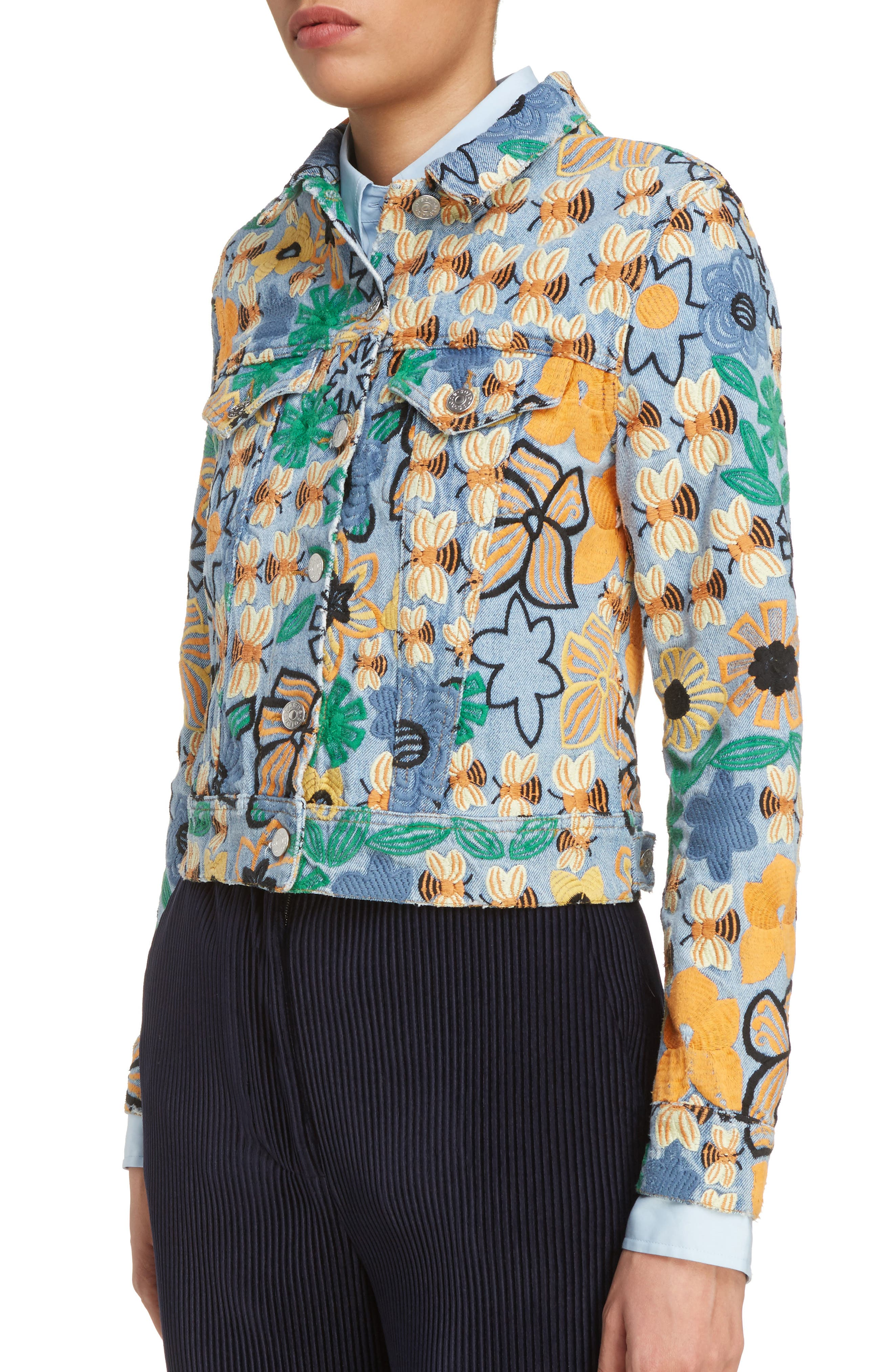 Alternate Image 4  - ACNE Studios Chea Floral Embroidered Crop Denim Jacket