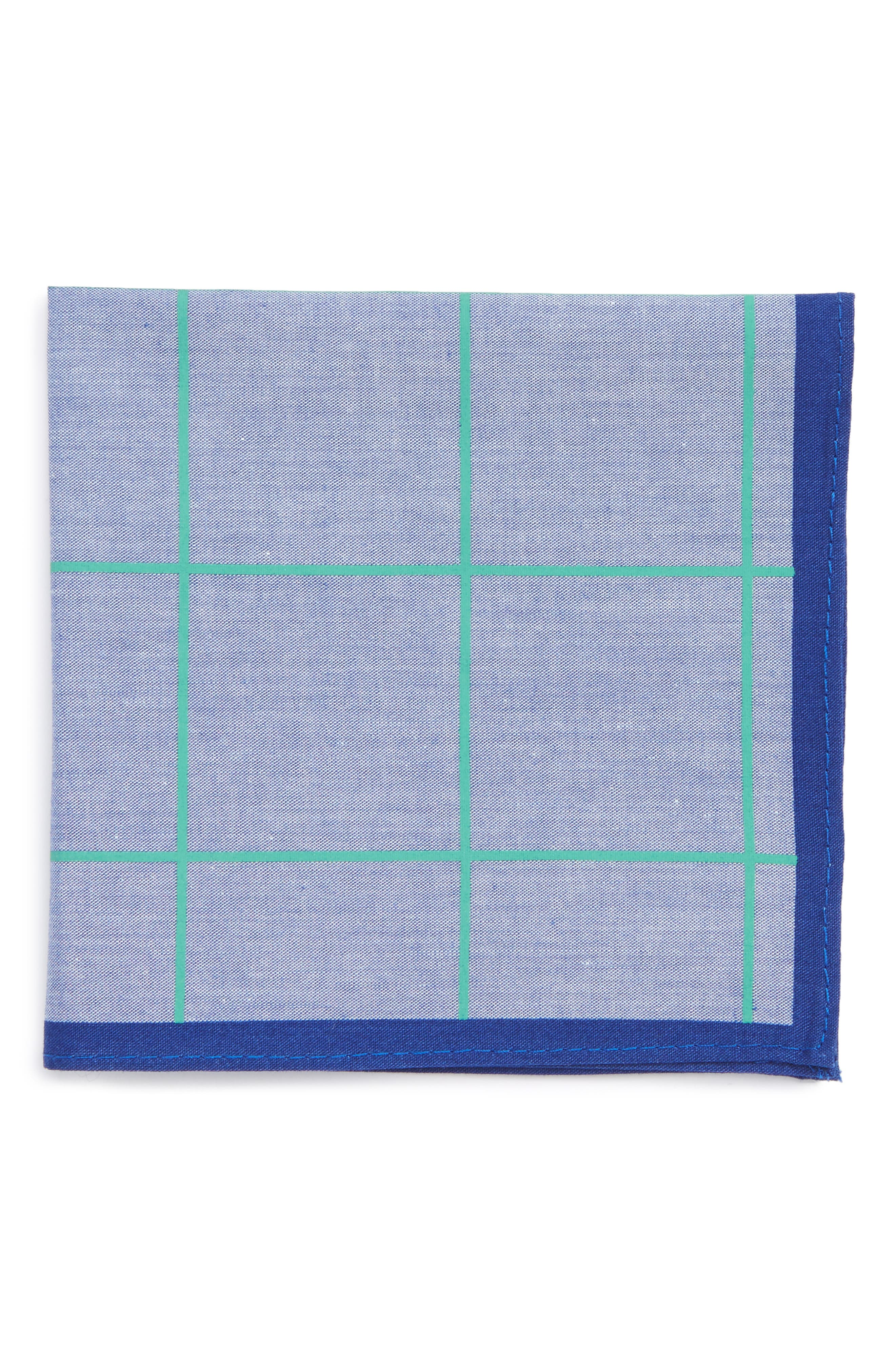 NORDSTROM Neon Grid Cotton Pocket Square