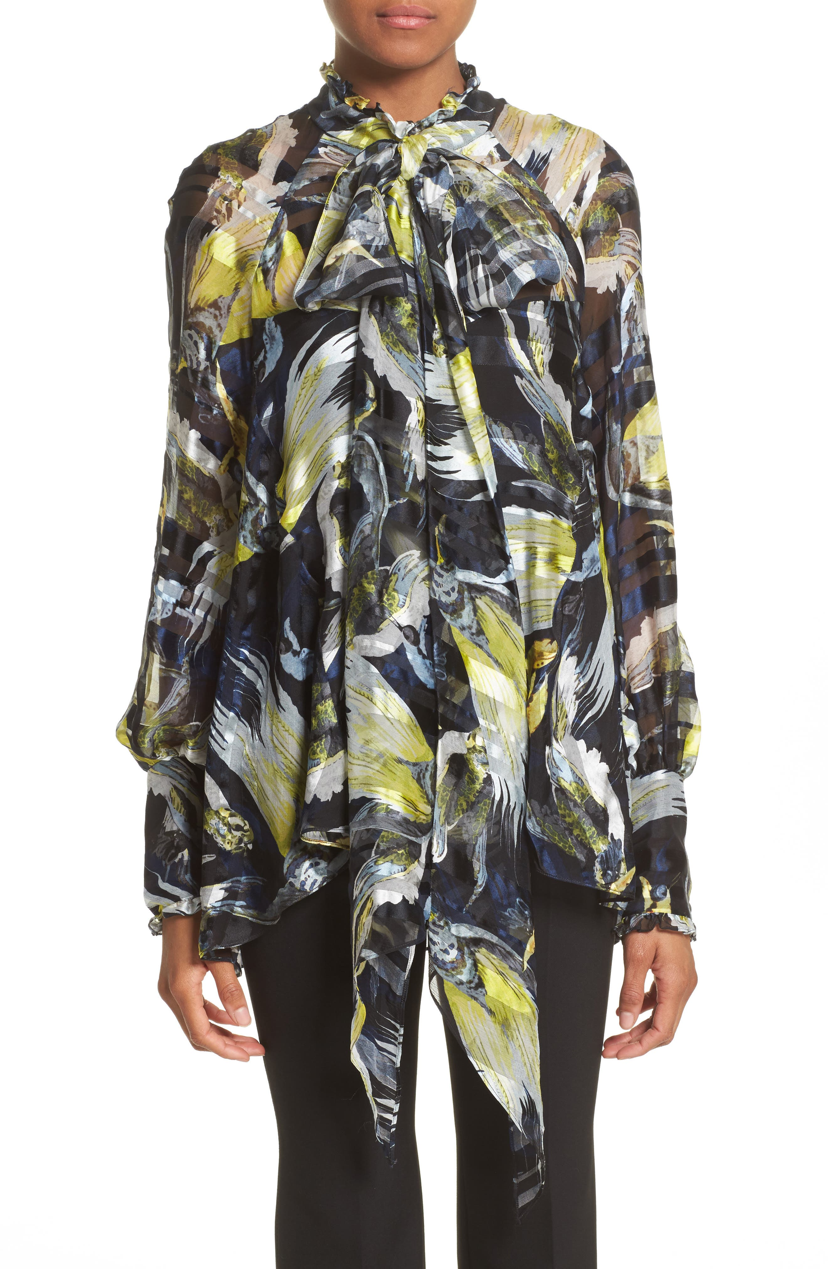 Bird Print Silk Chiffon Blouse,                         Main,                         color, Black/ Yellow