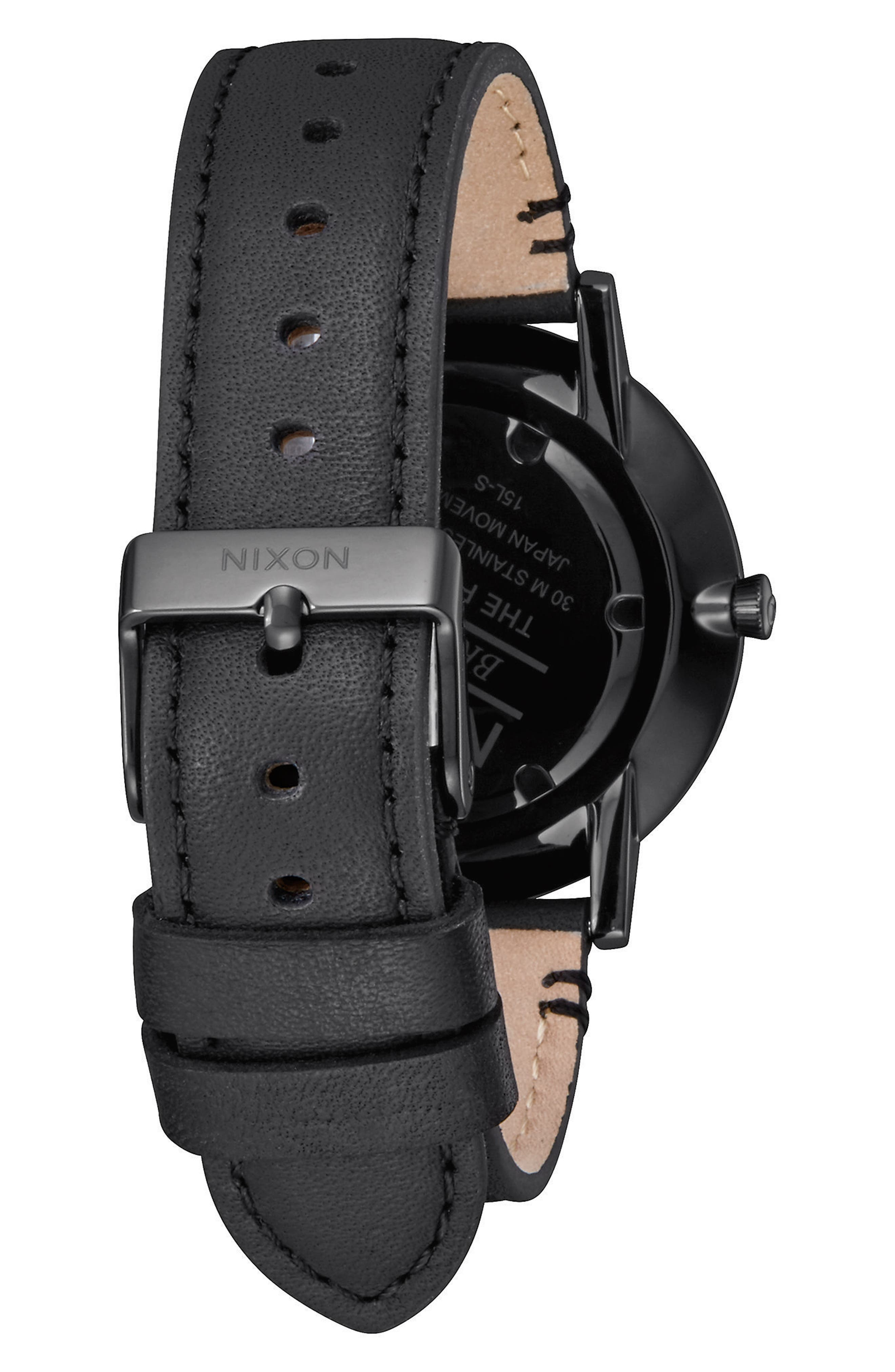 Porter Round Leather Strap Watch, 40mm,                             Alternate thumbnail 2, color,                             Black