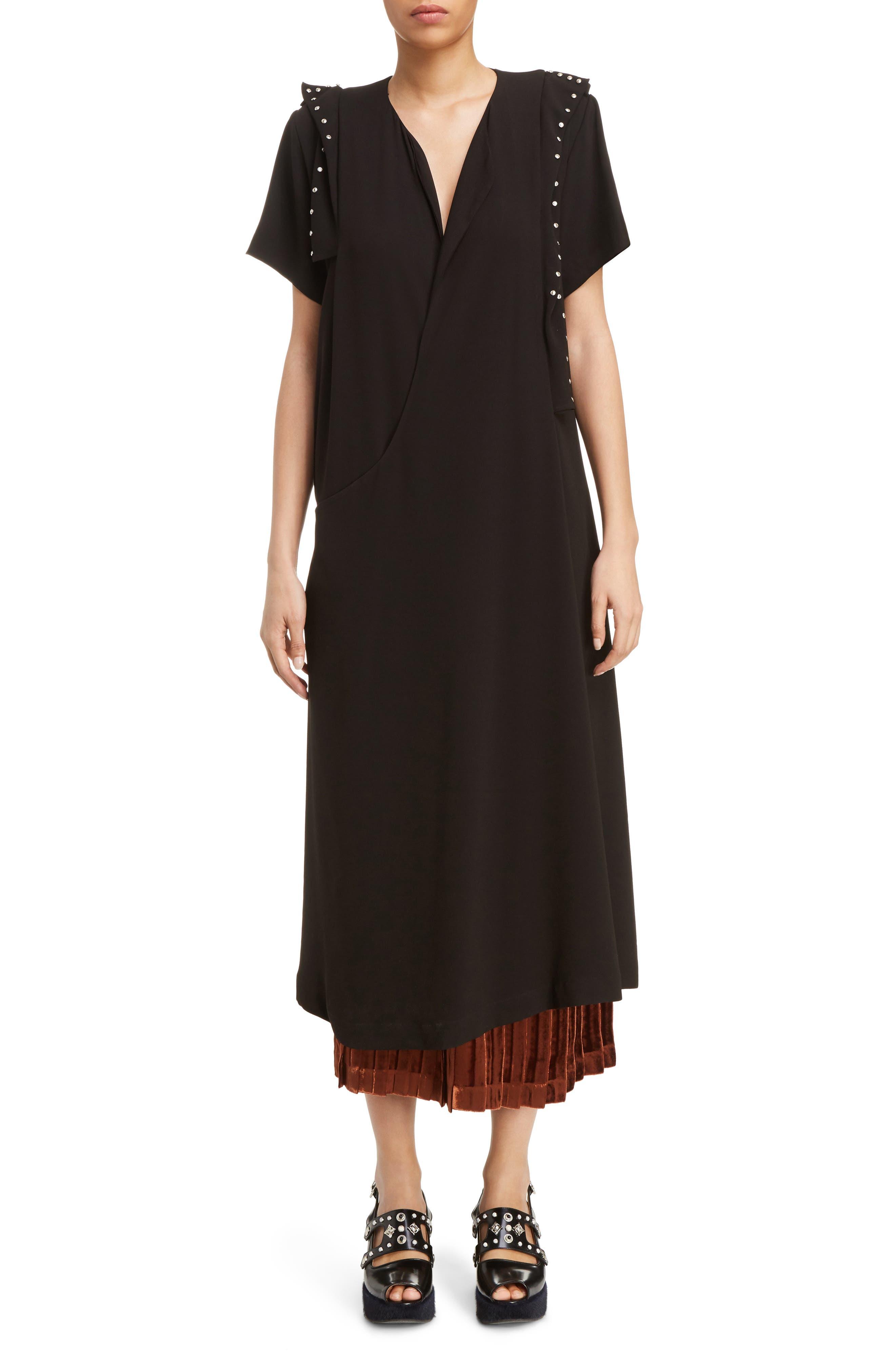 Georgette Faux Wrap Dress,                         Main,                         color, Black