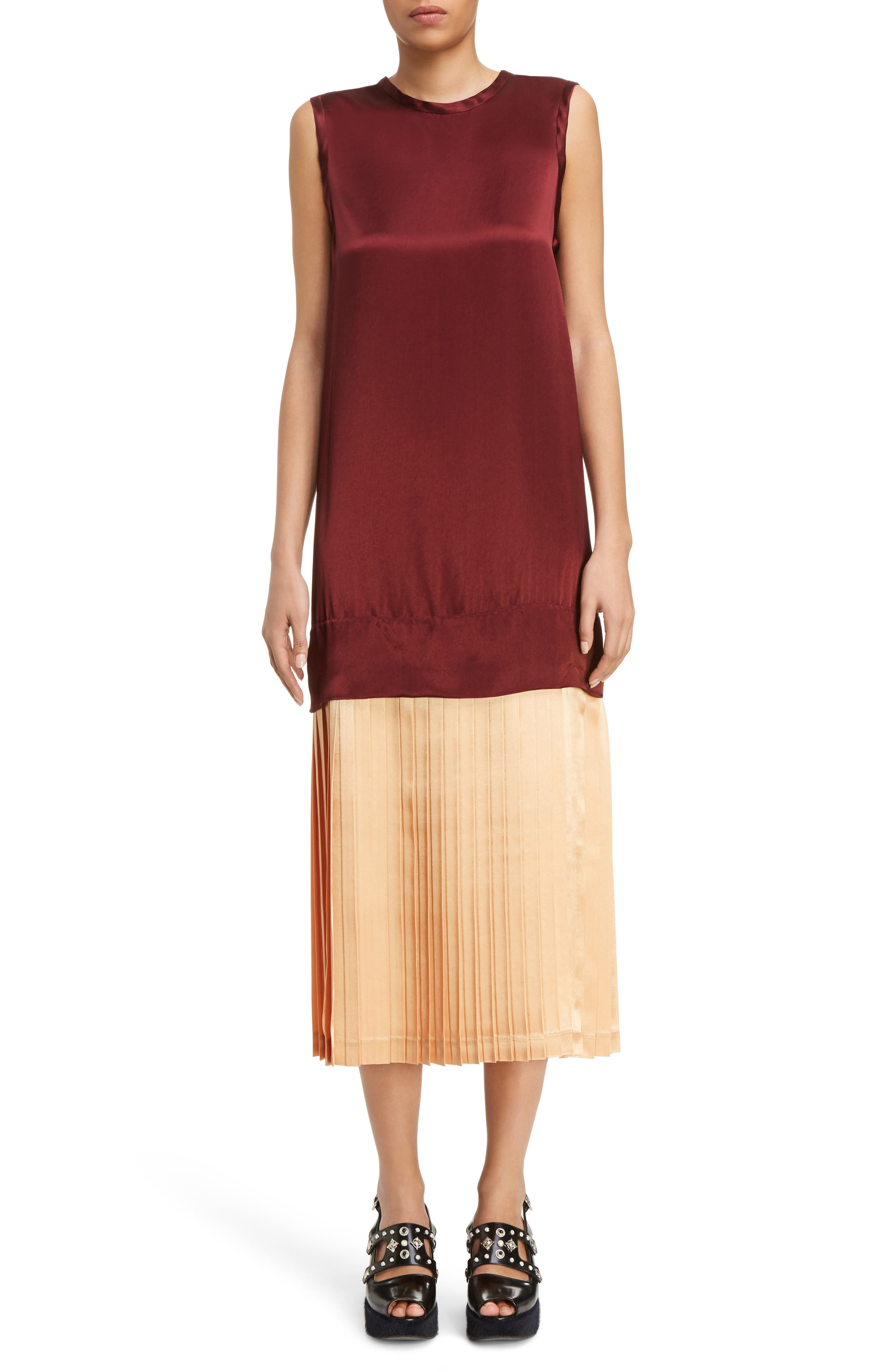Mock Two-Piece Satin Dress,                             Main thumbnail 1, color,                             Dark Red