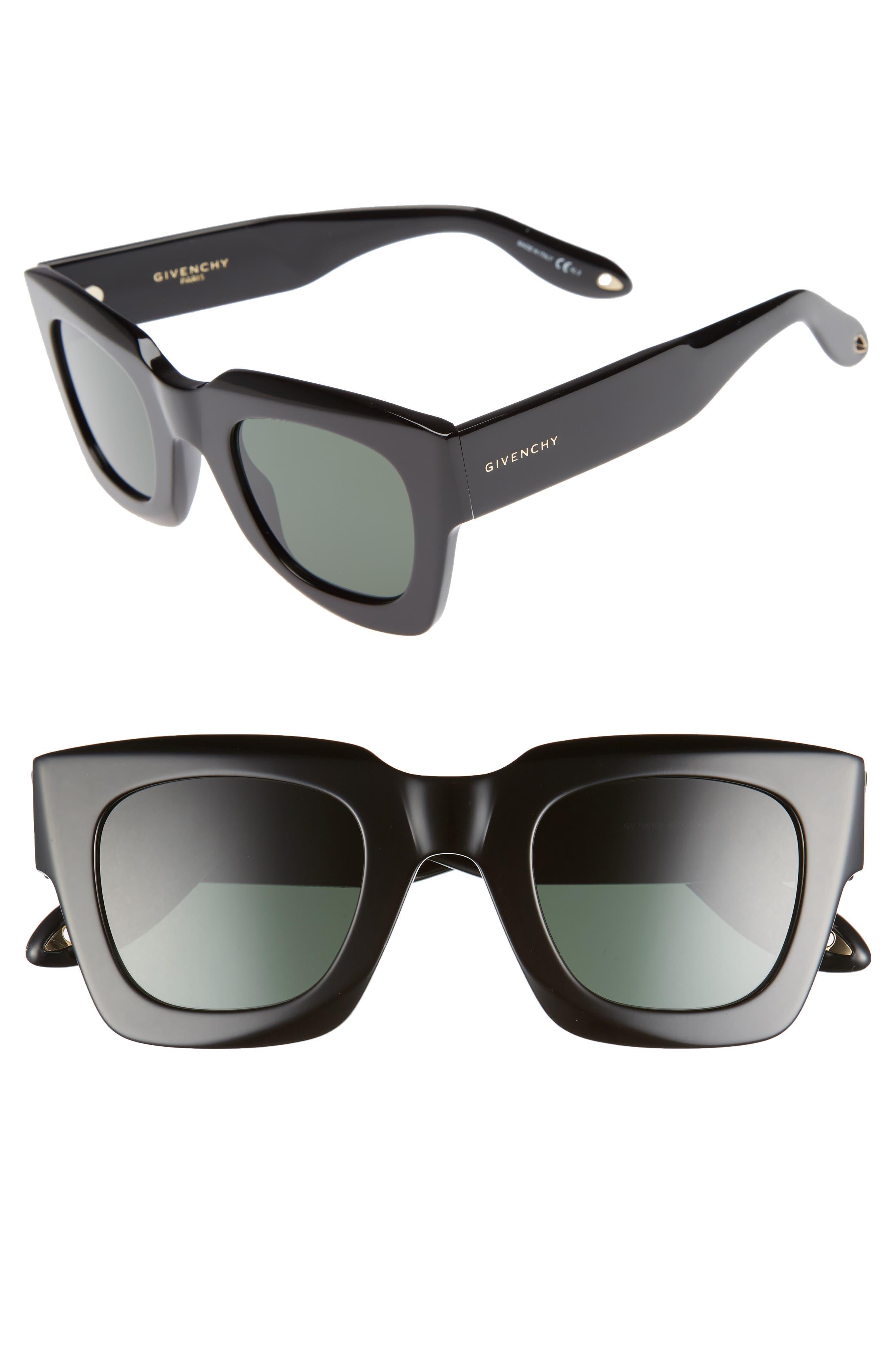 48mm Square Sunglasses,                             Main thumbnail 1, color,                             Black
