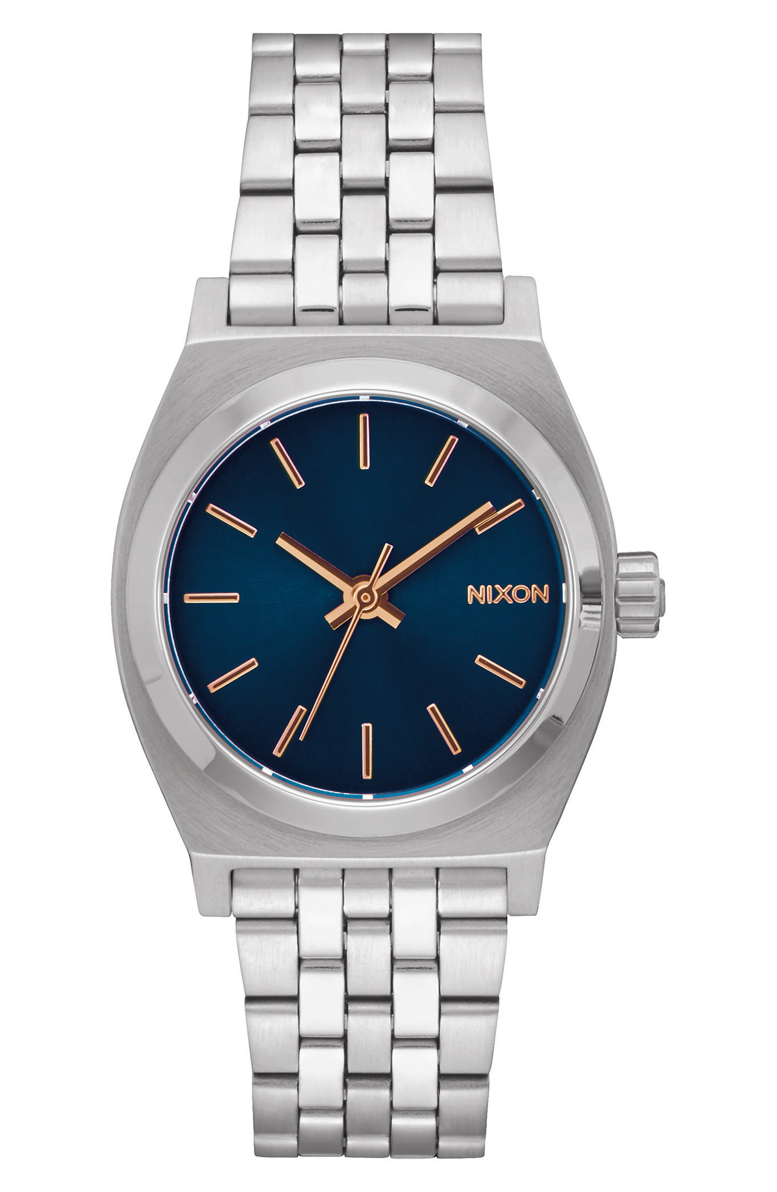 Time Teller Bracelet Watch, 31mm,                             Main thumbnail 1, color,                             Silver/ Navy/ Silver
