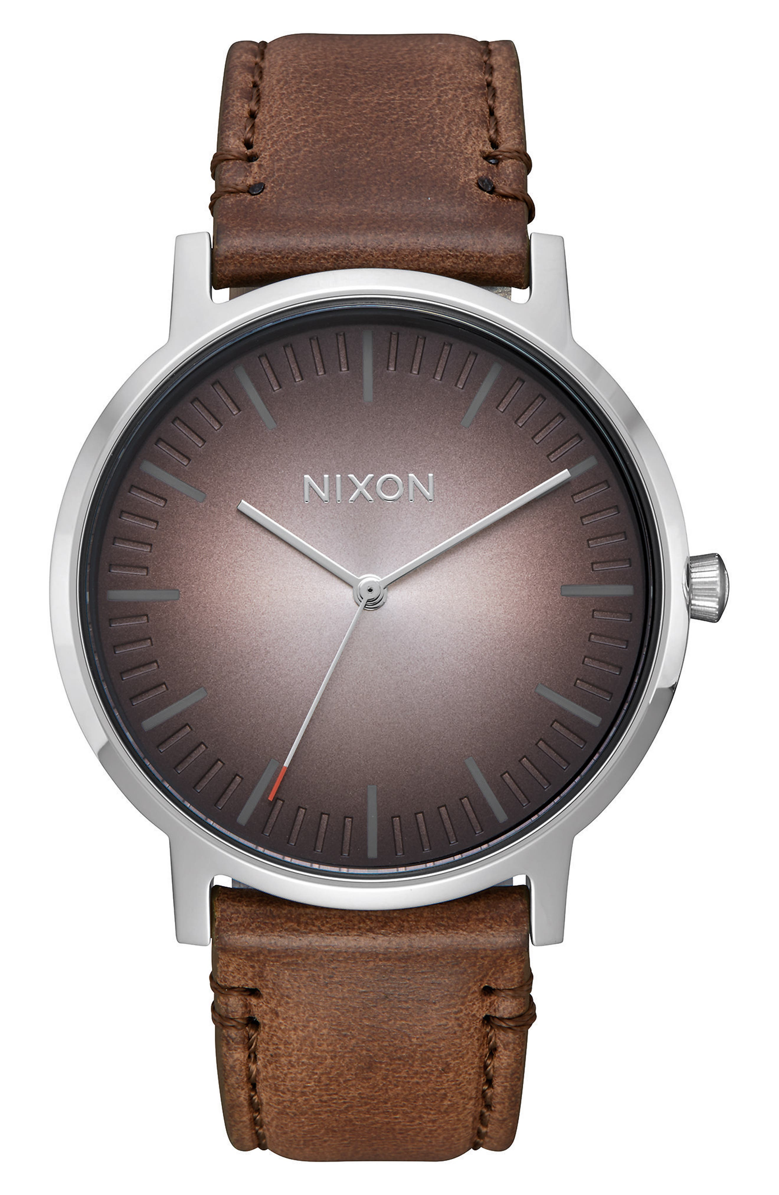 Porter Round Leather Strap Watch, 40mm,                         Main,                         color, Brown/ Ombre/ Silver