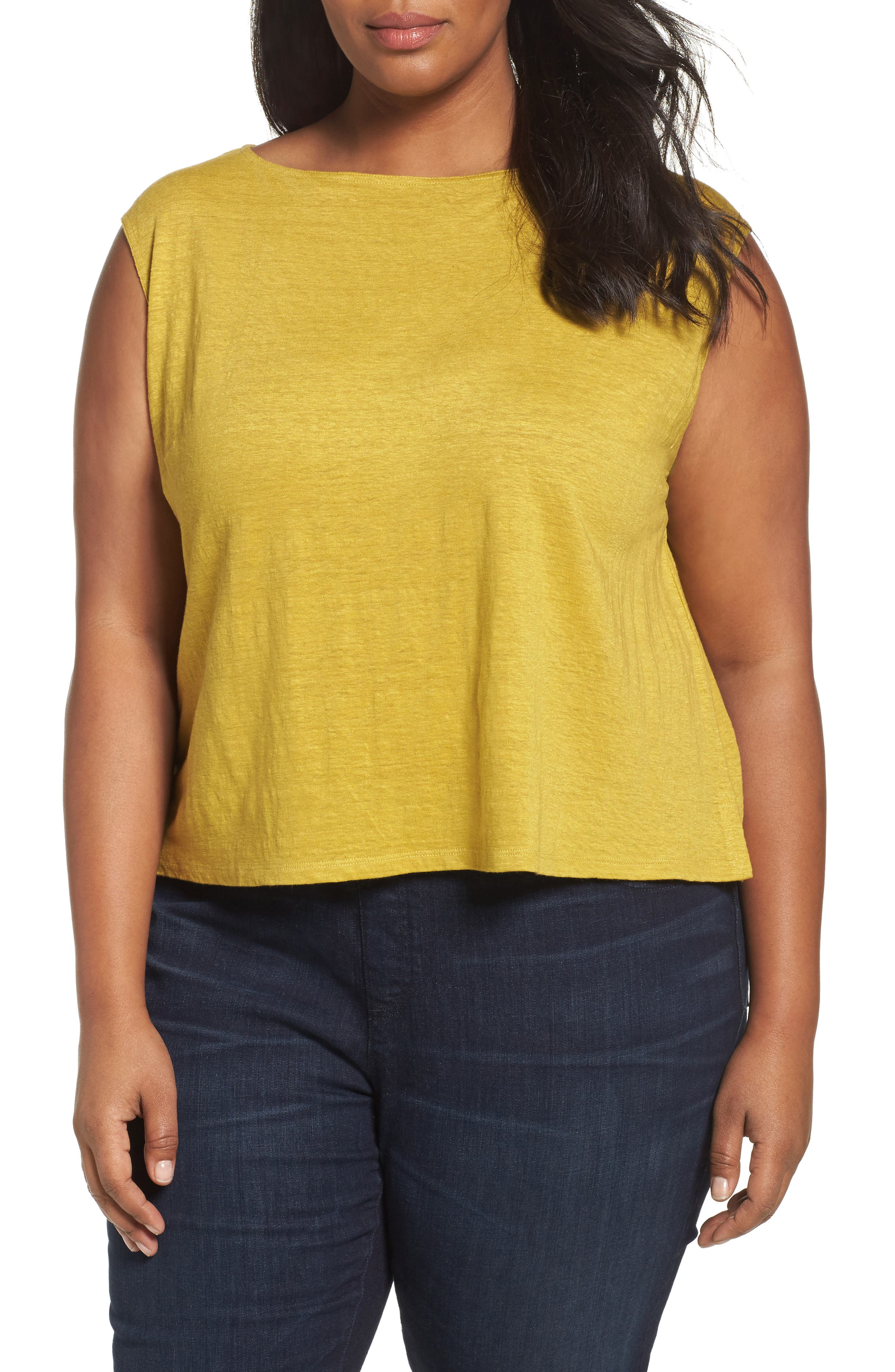 Eileen Fisher Organic Linen Jersey Shell (Plus Size)