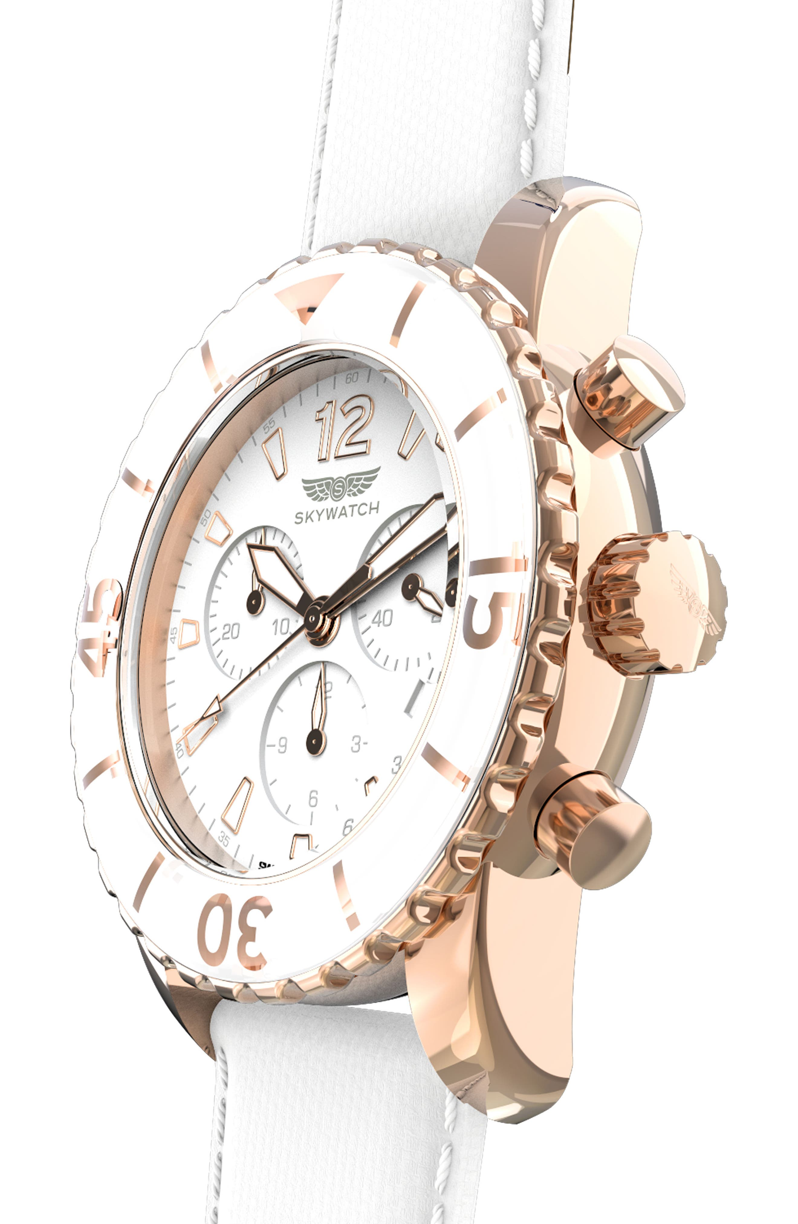 Classic Chronograph Woven Strap Watch, 44mm,                             Alternate thumbnail 5, color,                             White/ White