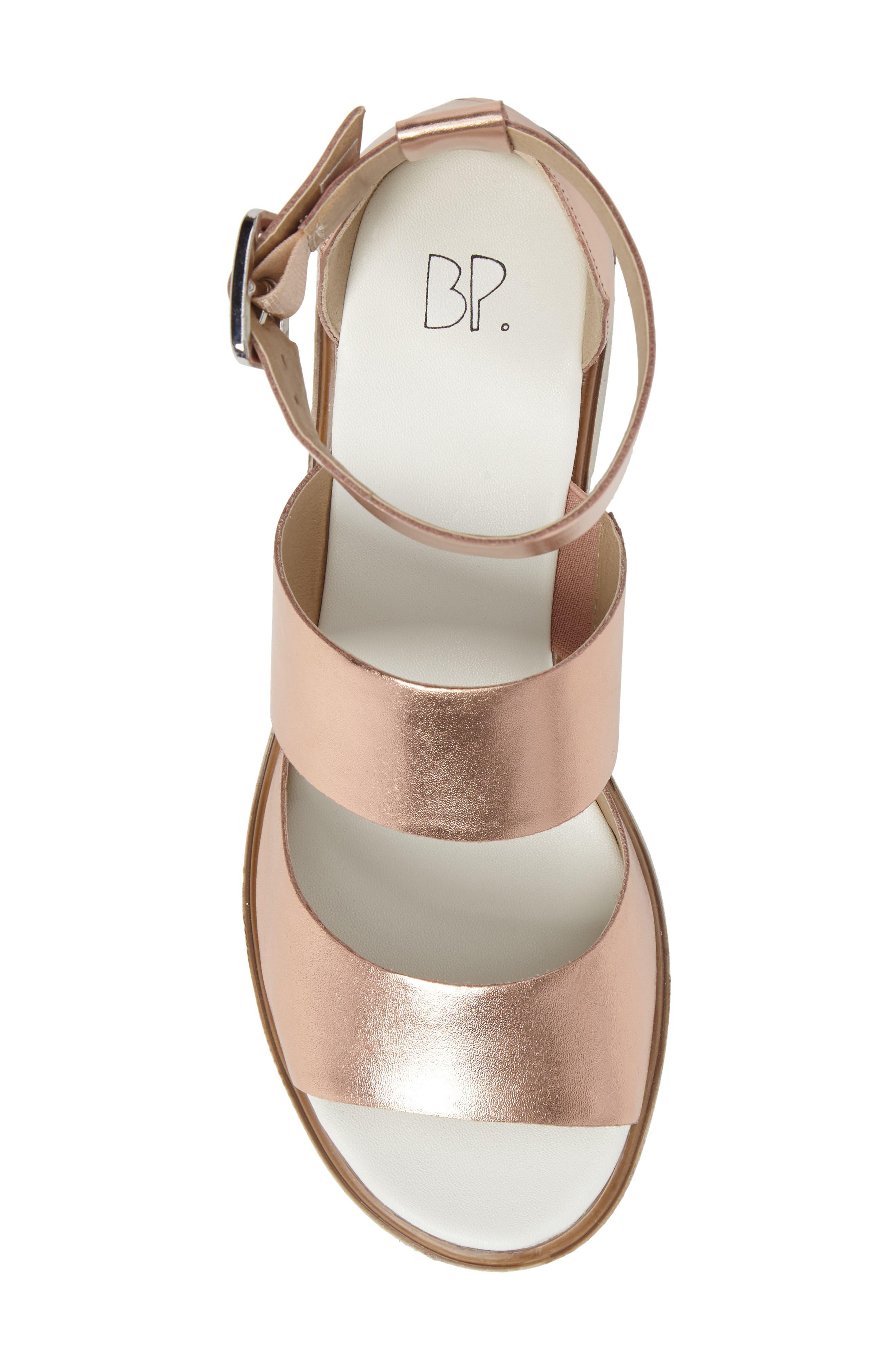 Rowan Platform Sandal,                             Alternate thumbnail 5, color,                             Rose Gold Leather