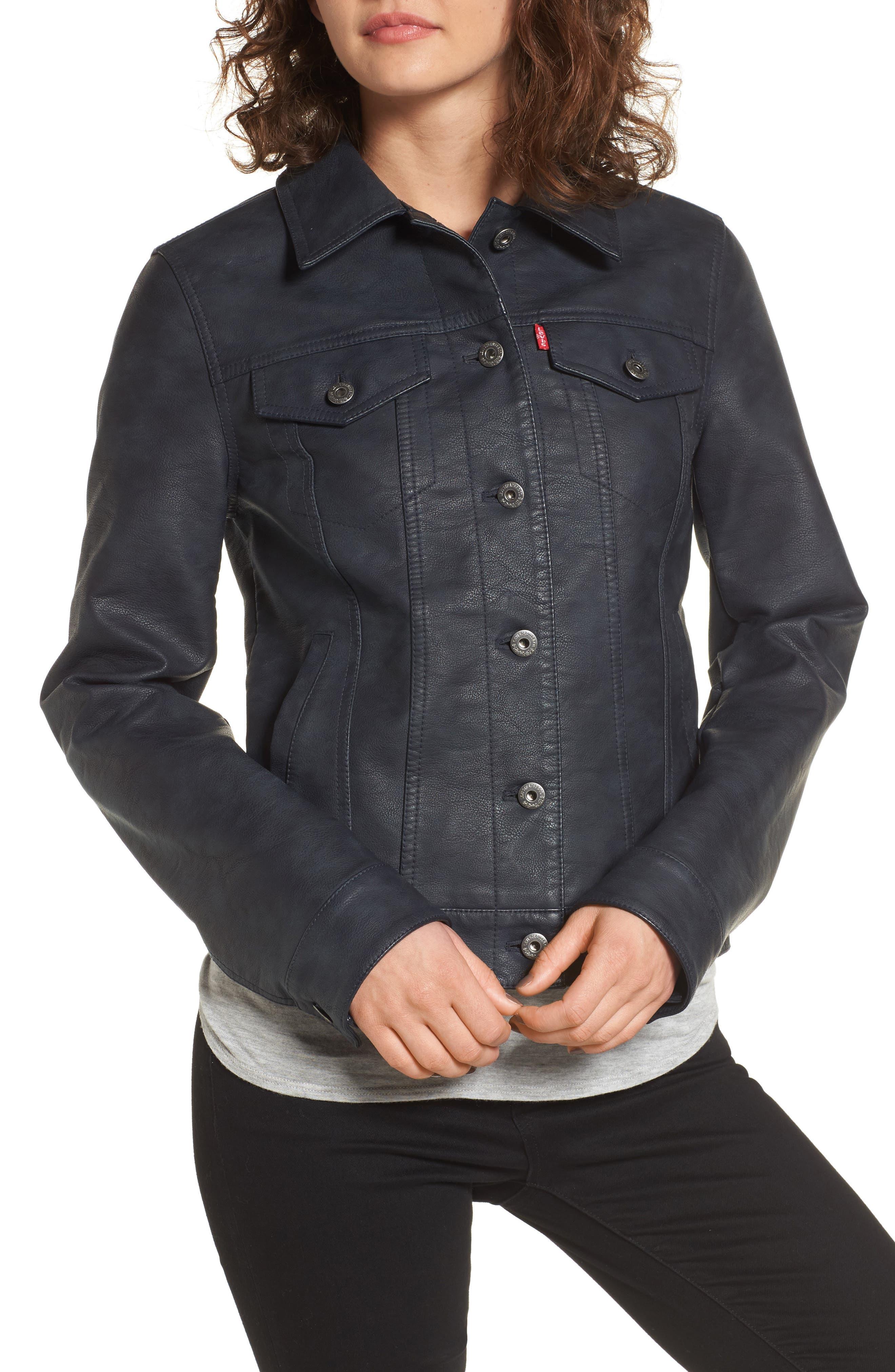 Alternate Image 4  - Levi's® Faux Leather Trucker Jacket