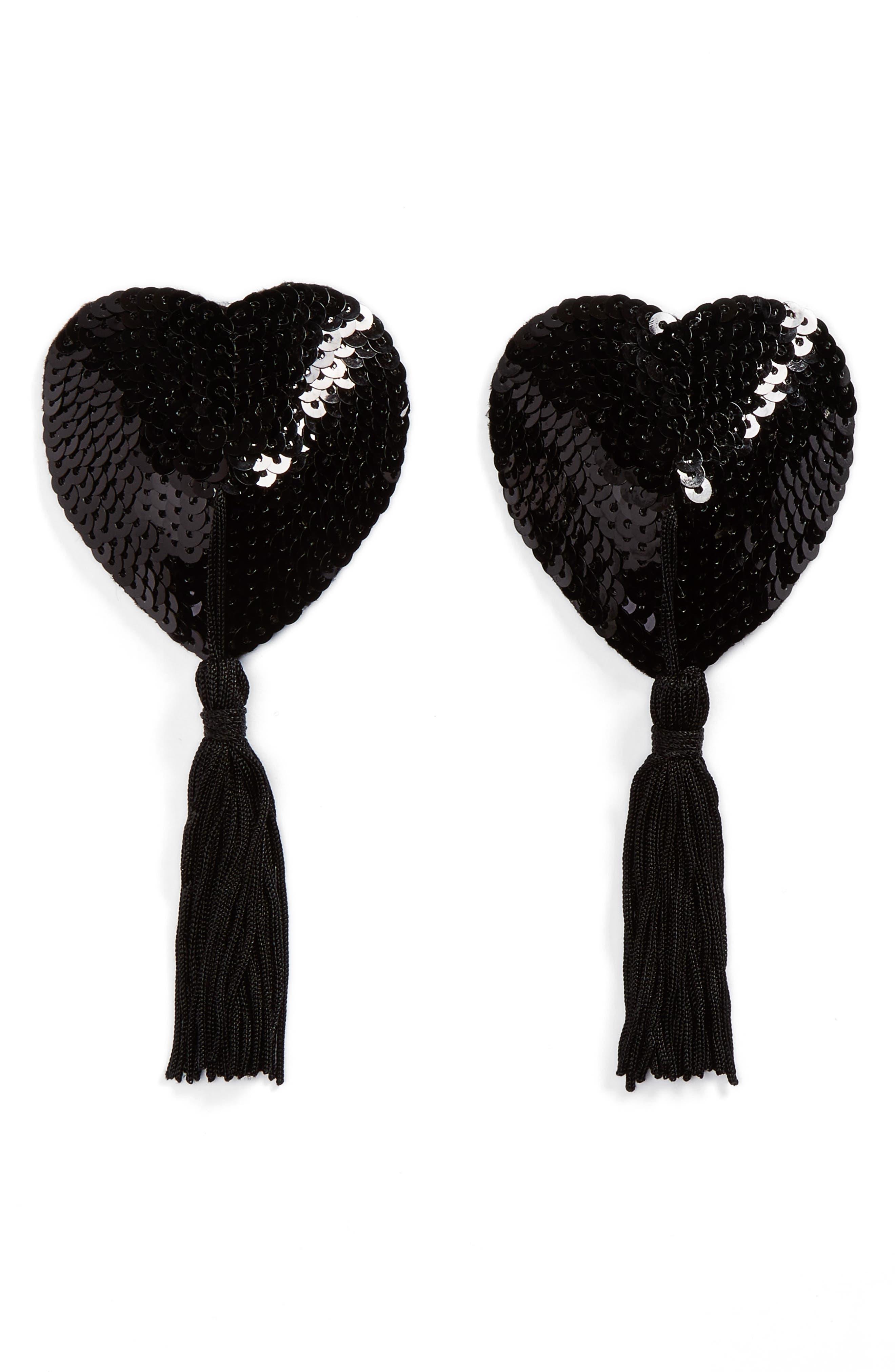 Nippies by Bristols Six Jett Tassel Nipple Covers,                         Main,                         color, Black