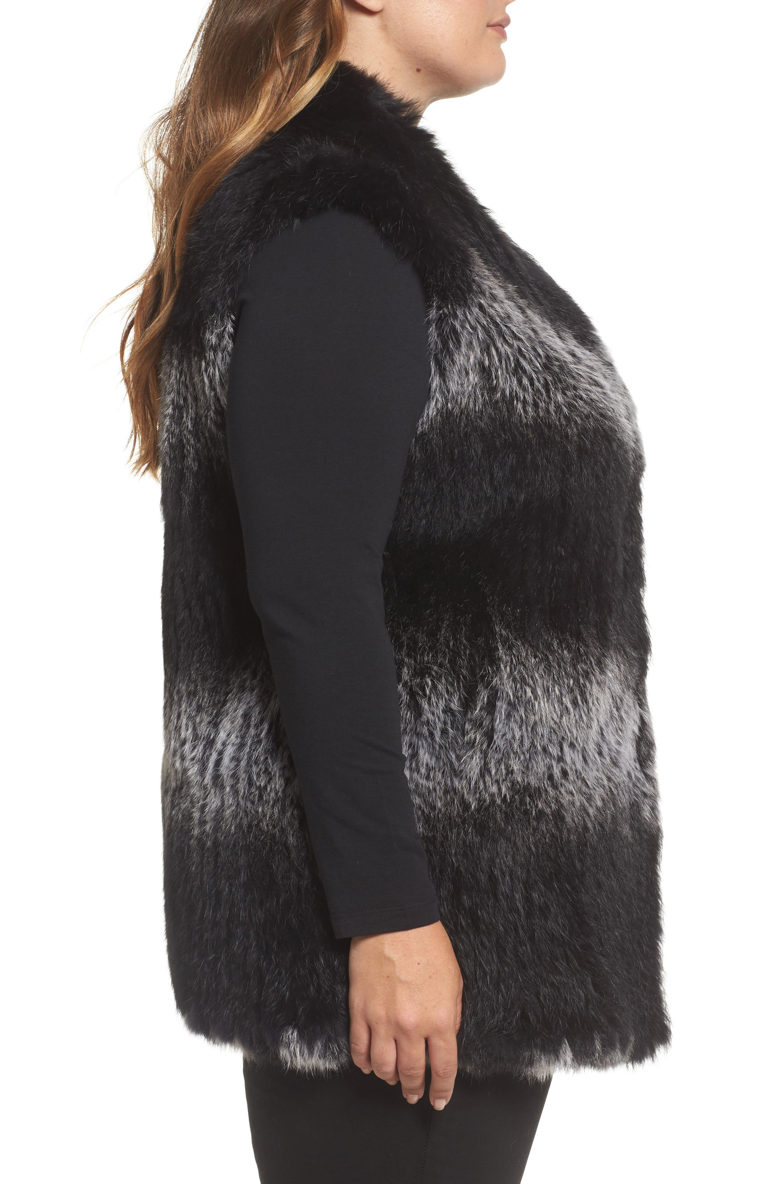 Alternate Image 3  - Love Token Genuine Rabbit Fur Vest (Plus Size)