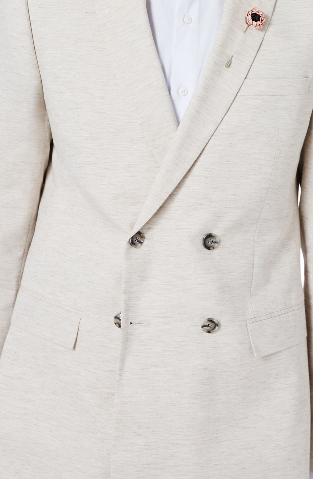 Alternate Image 4  - Topman Skinny Fit Double Breasted Marled Suit Jacket
