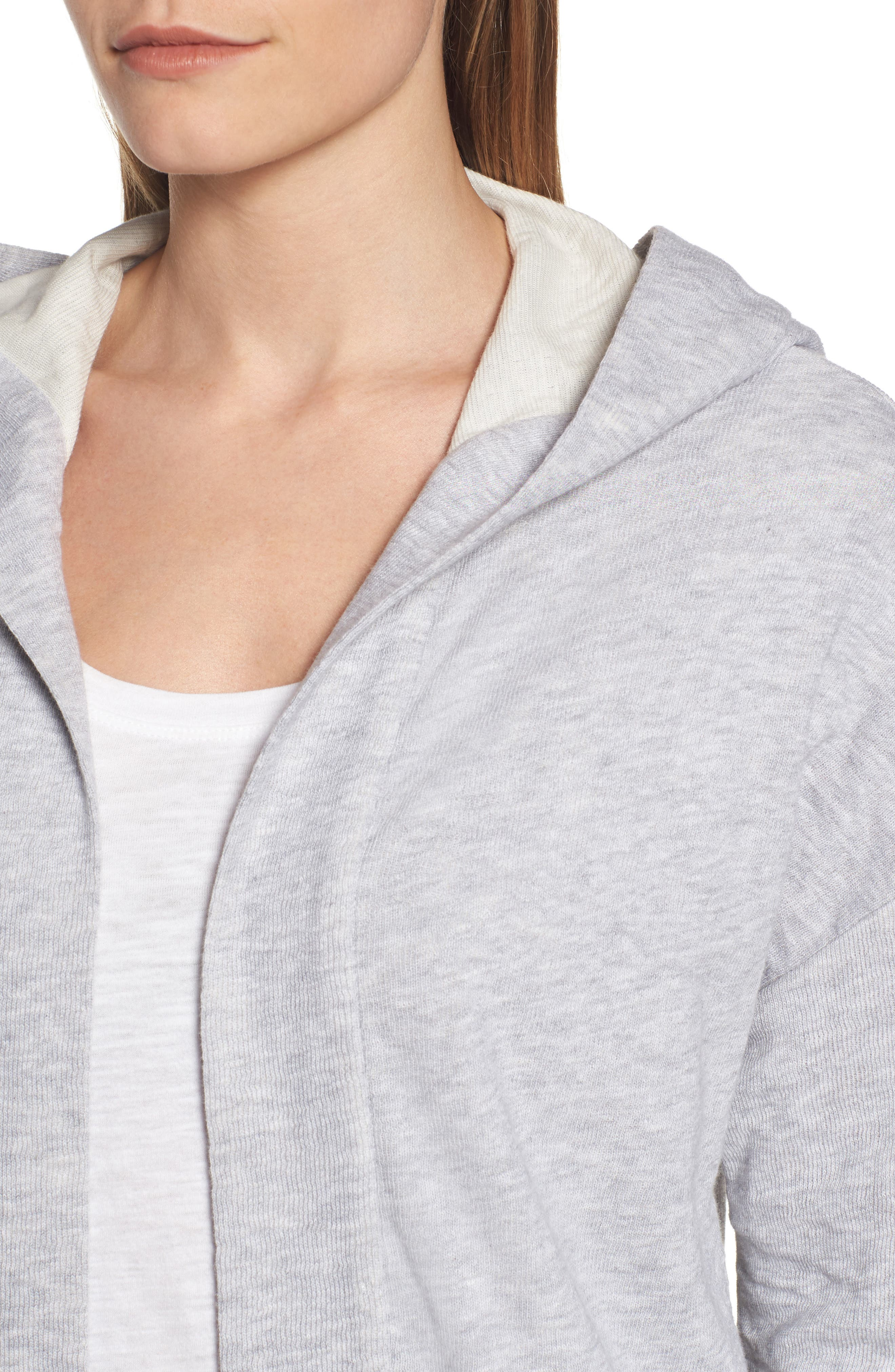 Organic Cotton Knit Hooded Jacket,                             Alternate thumbnail 4, color,                             Dark Pearl