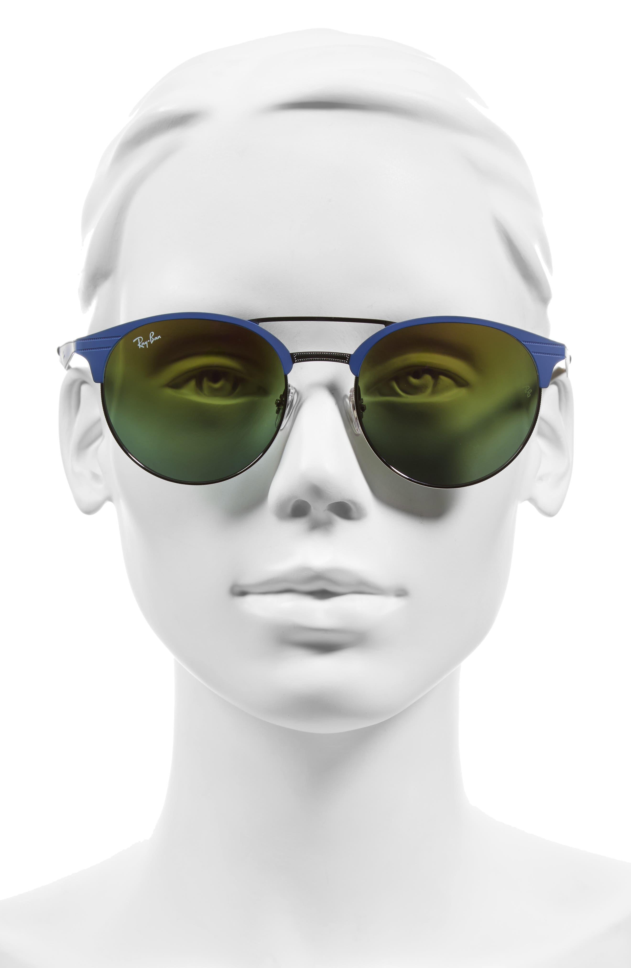 Highstreet 54mm Round Sunglasses,                             Alternate thumbnail 2, color,                             Black/ Blue/ Violet