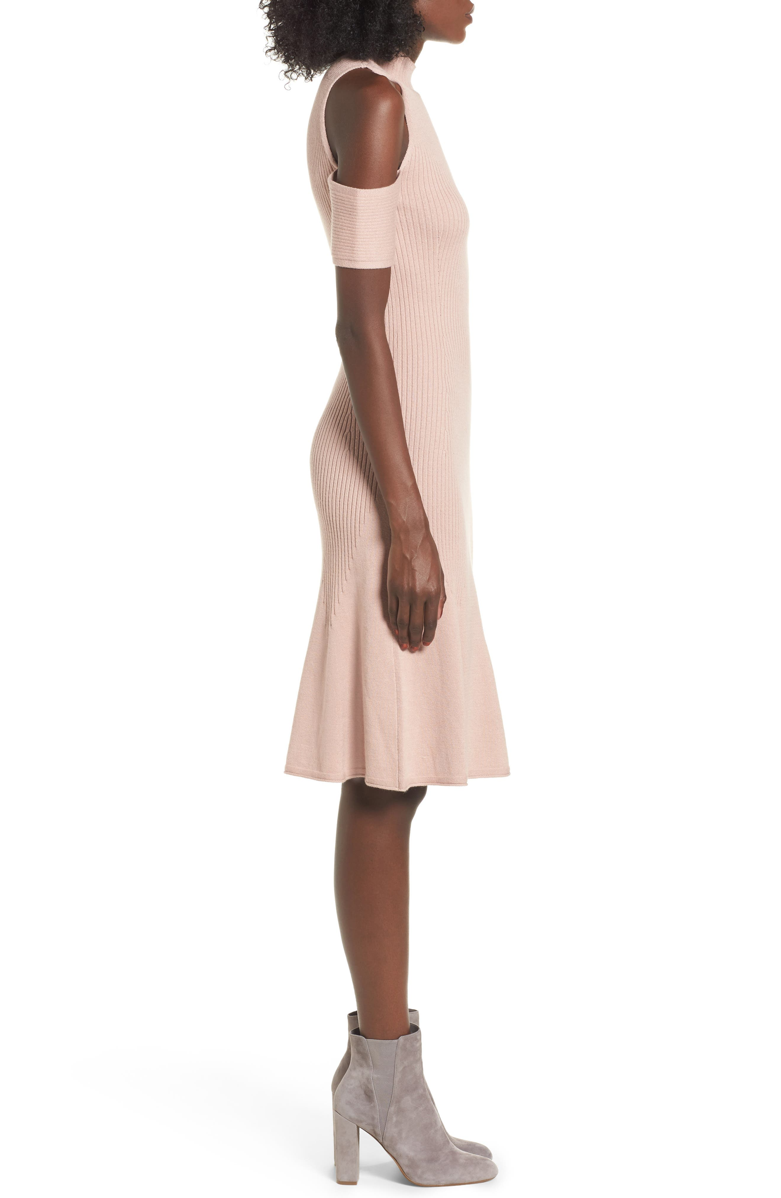 Alternate Image 3  - Leith Cold Shoulder Sweater-Dress