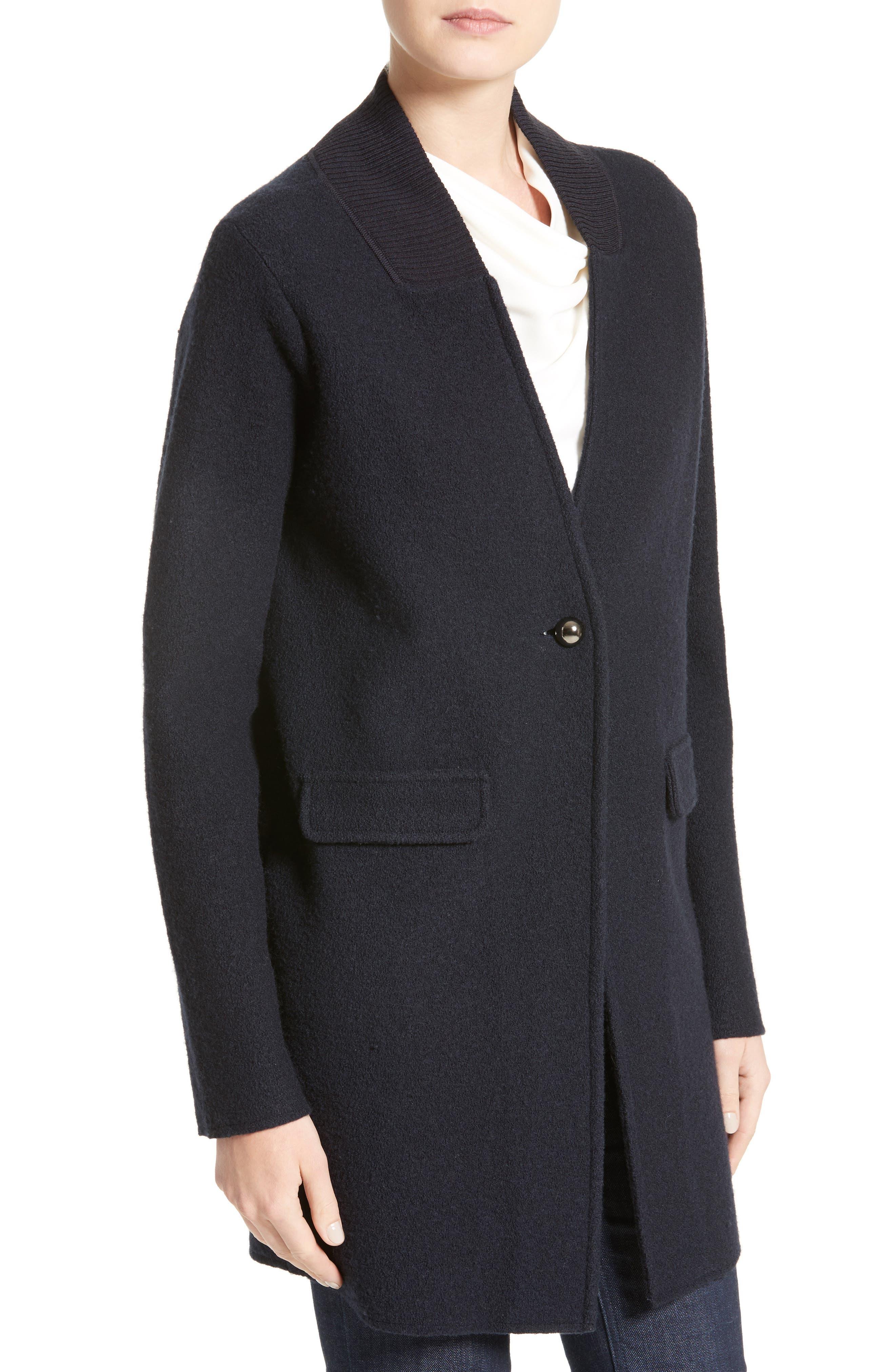 Armani Jeans Single Button Wool Coat,                             Alternate thumbnail 4, color,                             Navy