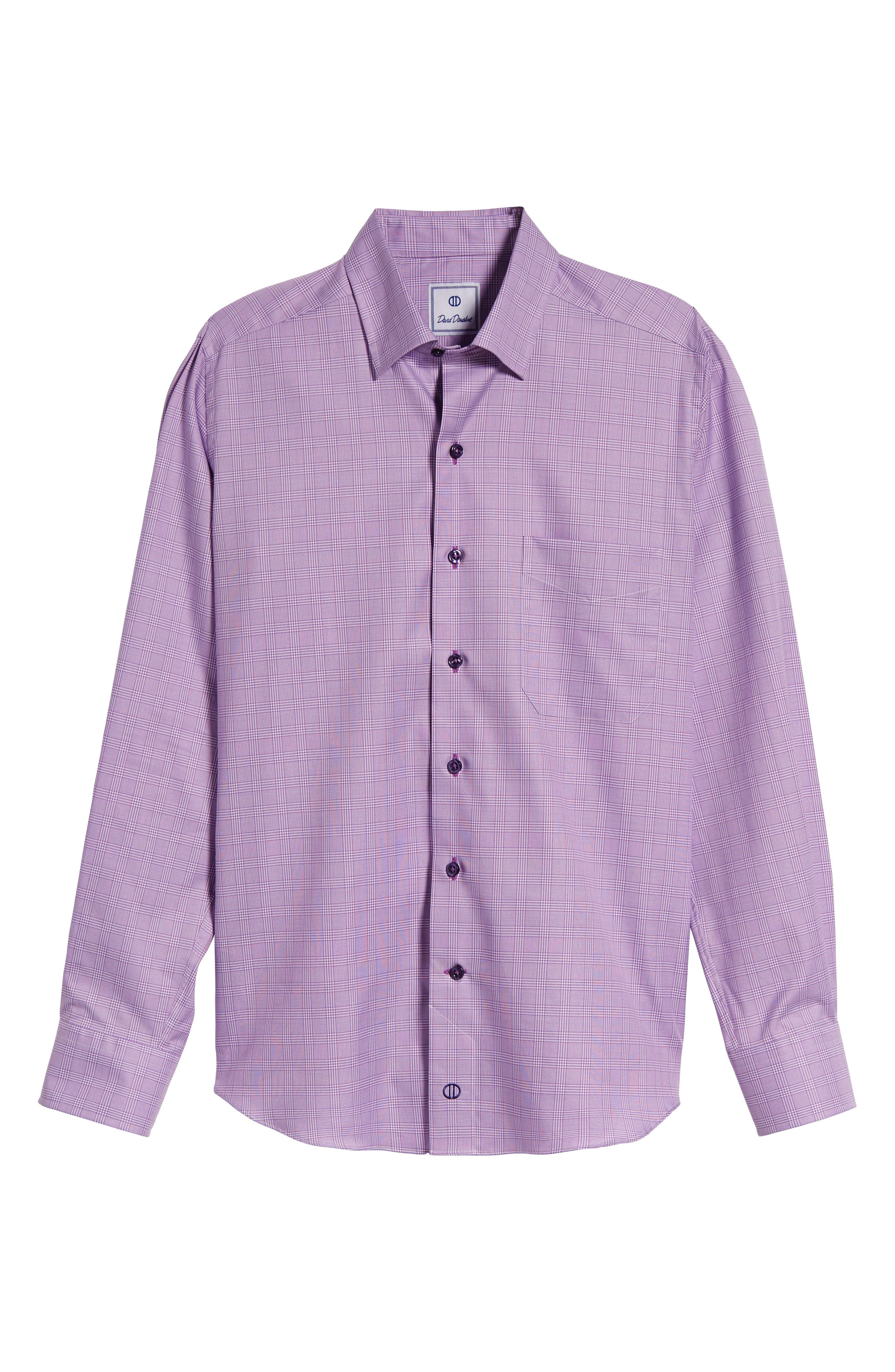Regular Fit Plaid Sport Shirt,                             Alternate thumbnail 6, color,                             Lilac
