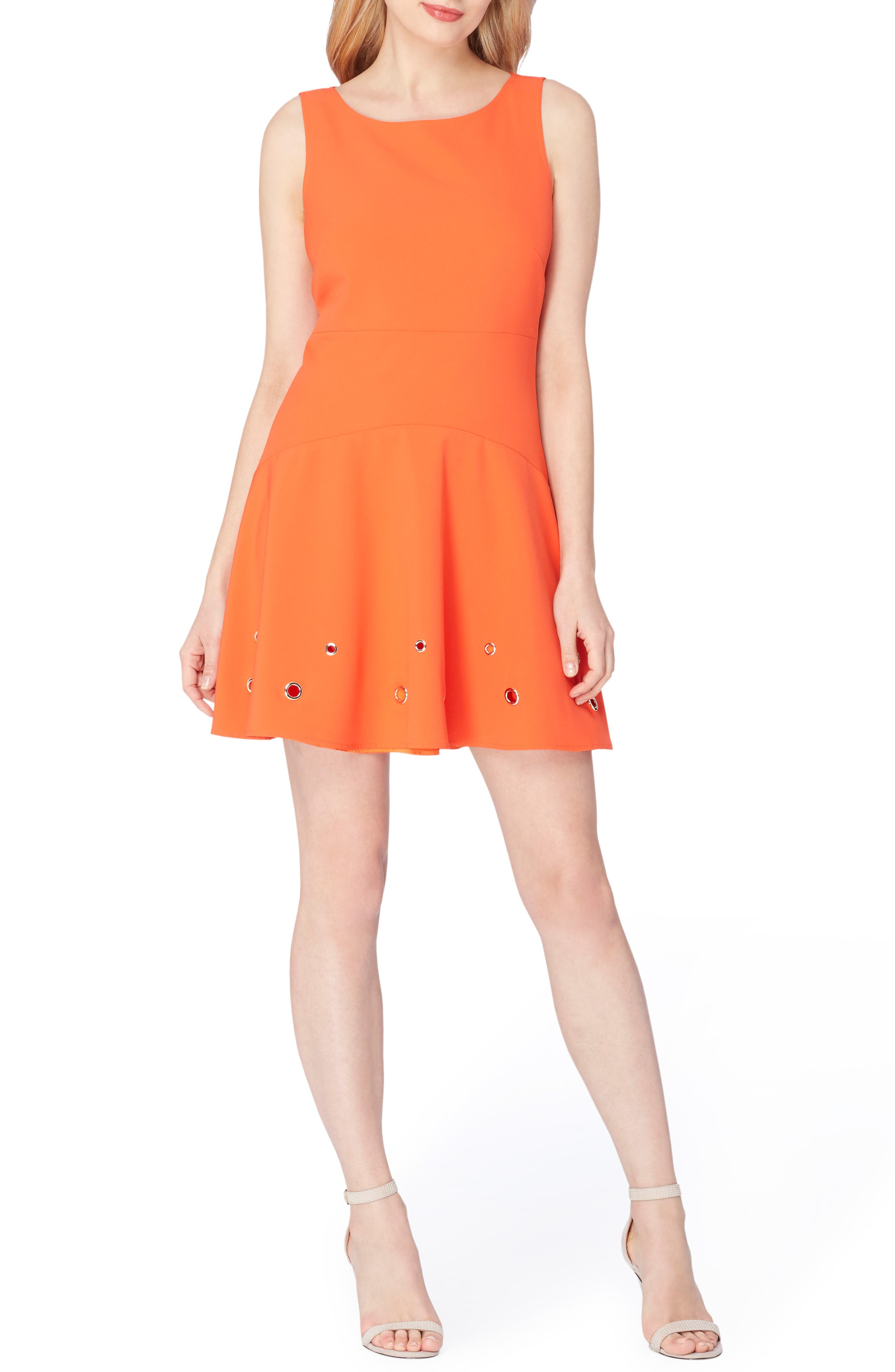 Grommet Stretch Dress,                         Main,                         color, Tangelo