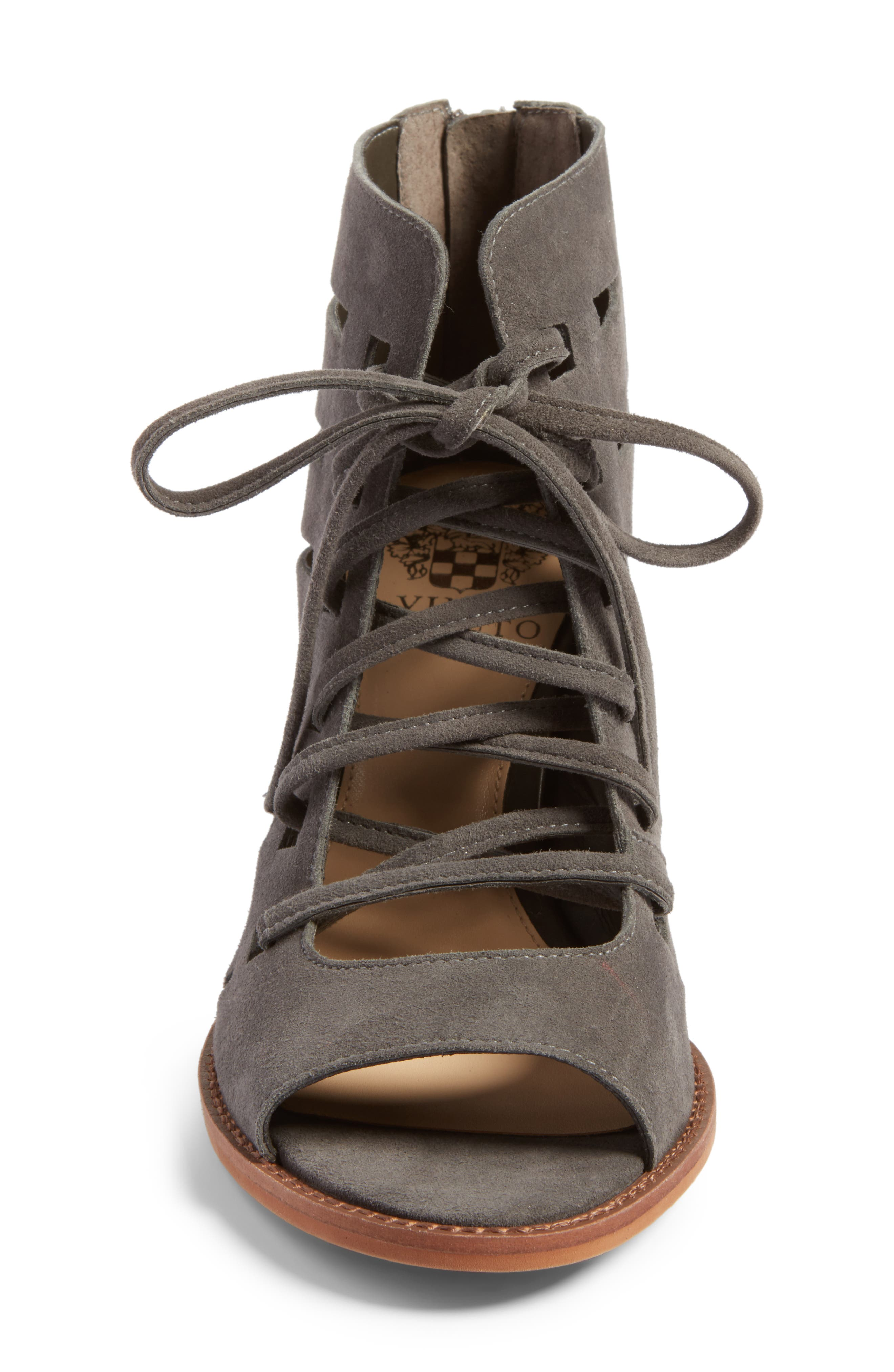 Tressa Perforated Lace-Up Sandal,                             Alternate thumbnail 4, color,                             Greystone Suede