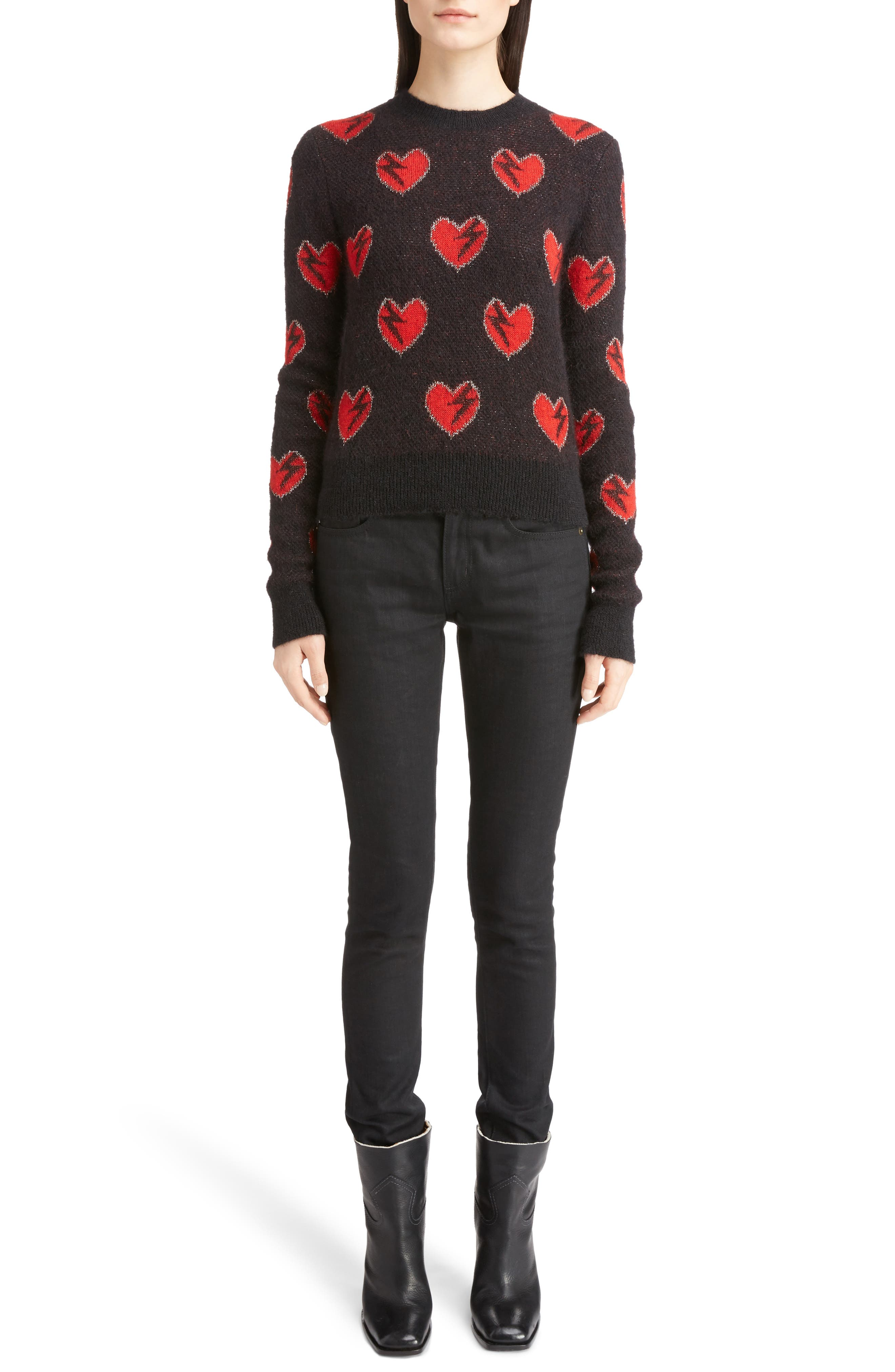 Alternate Image 6  - Saint Laurent Heart Jacquard Mohair Blend Sweater