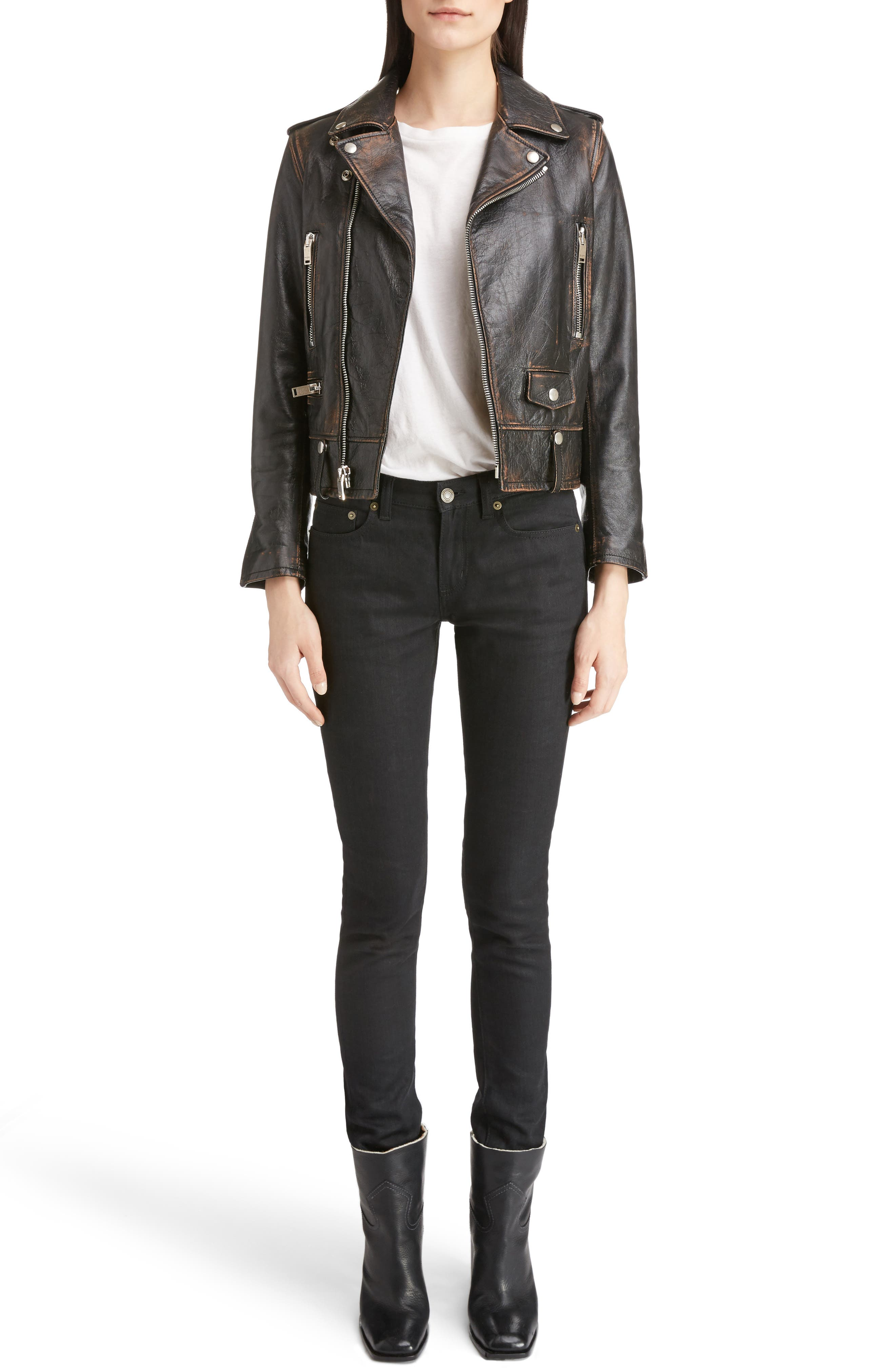 Alternate Image 7  - Saint Laurent High Waist Skinny Jeans