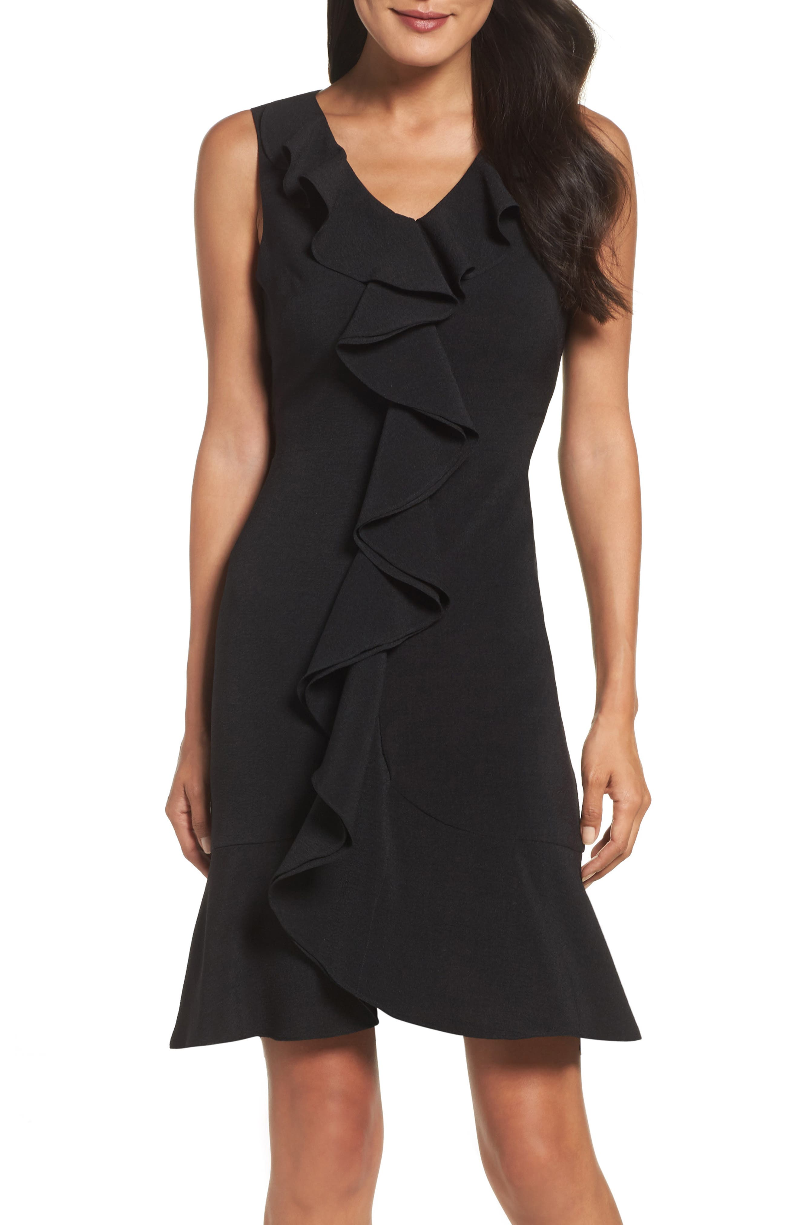 Gabby Skye Ruffle Crepe Dress
