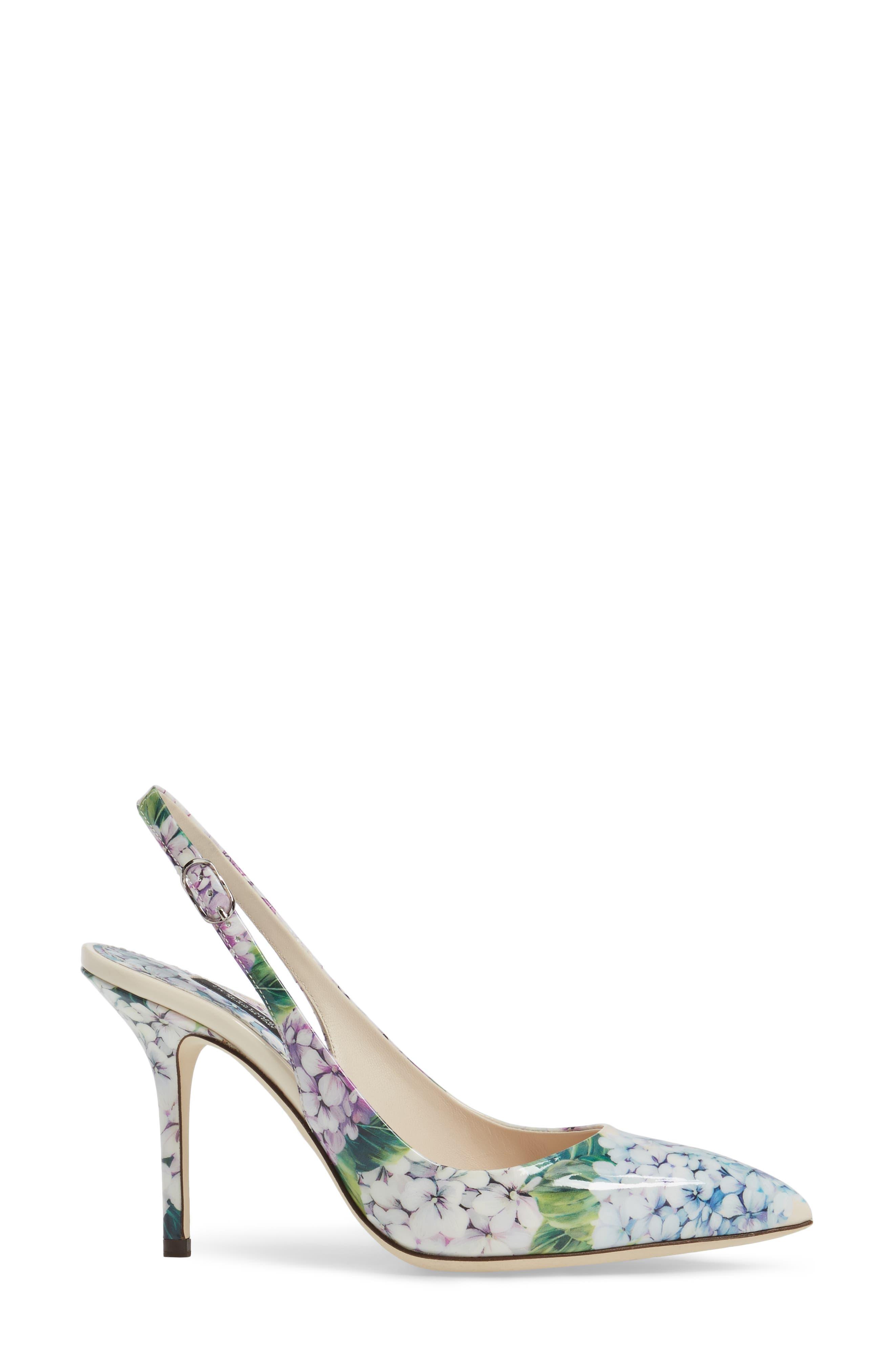 Hydrangea Slingback Sandal,                             Alternate thumbnail 3, color,                             White Floral