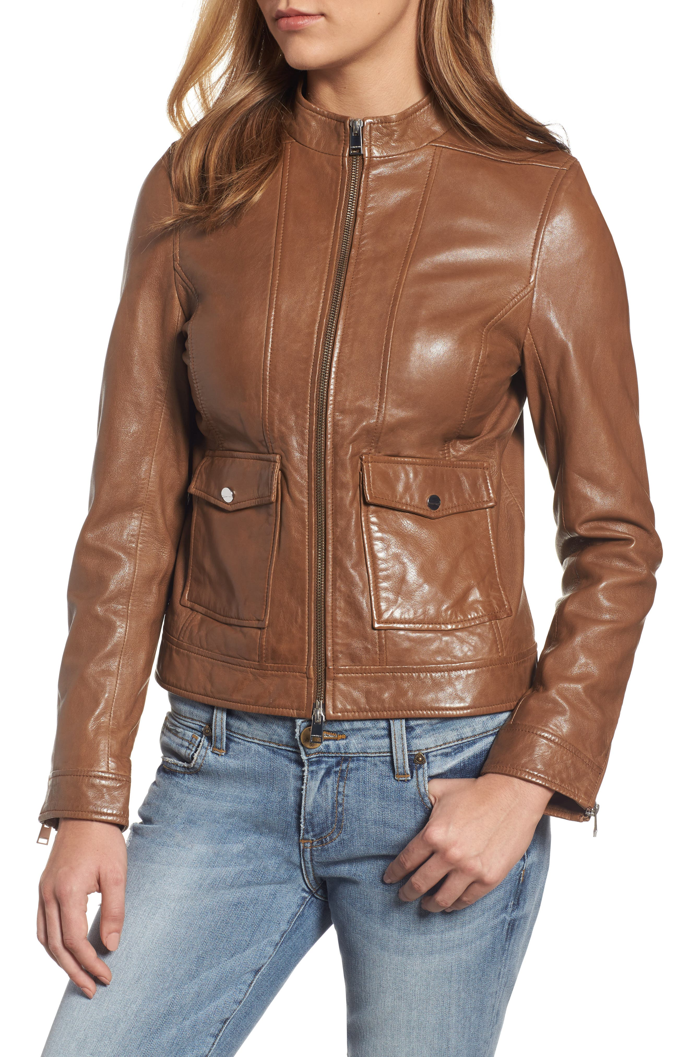 Alternate Image 4  - LAMARQUE Patch Pocket Leather Biker Jacket